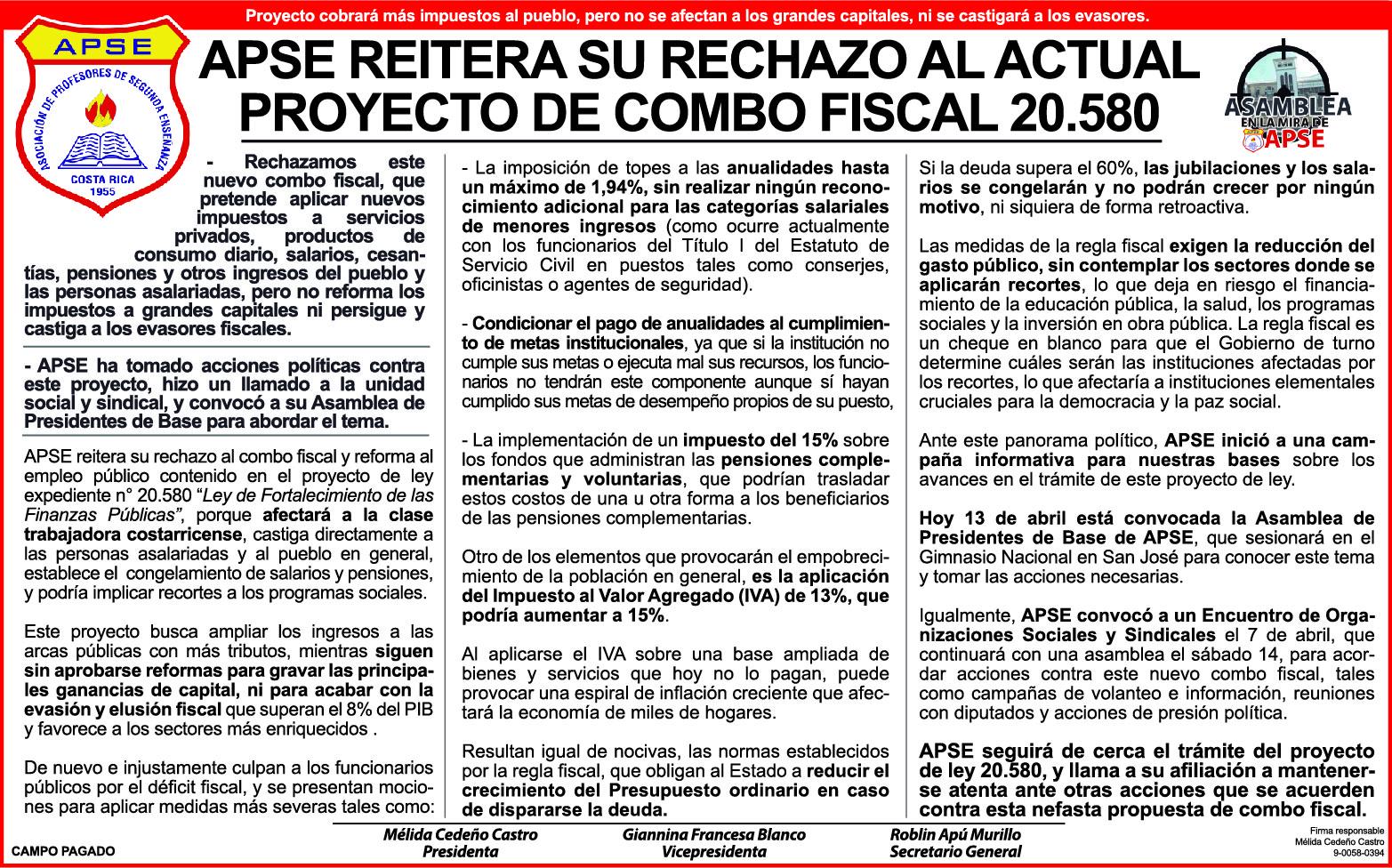 APSE REITERA SU RECHAZO AL ACTUAL PROYECTO DE COMBO FISCAL 20.580