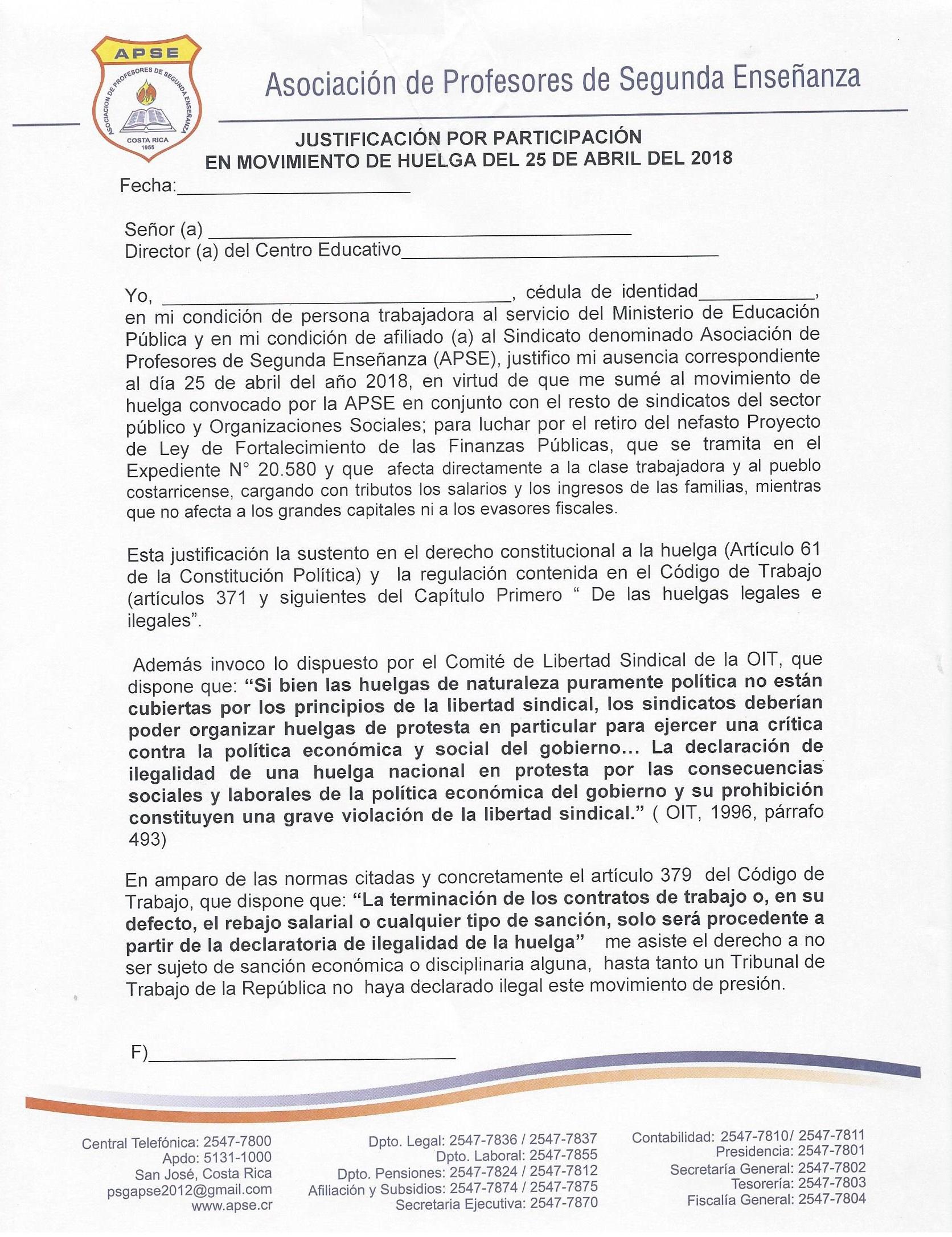 JUSTIFICACIÓN POR PARTICIPACIÓN EN EL MOVIMIENTO DE HUELGA DEL 25 DE ABRIL DEL 2018