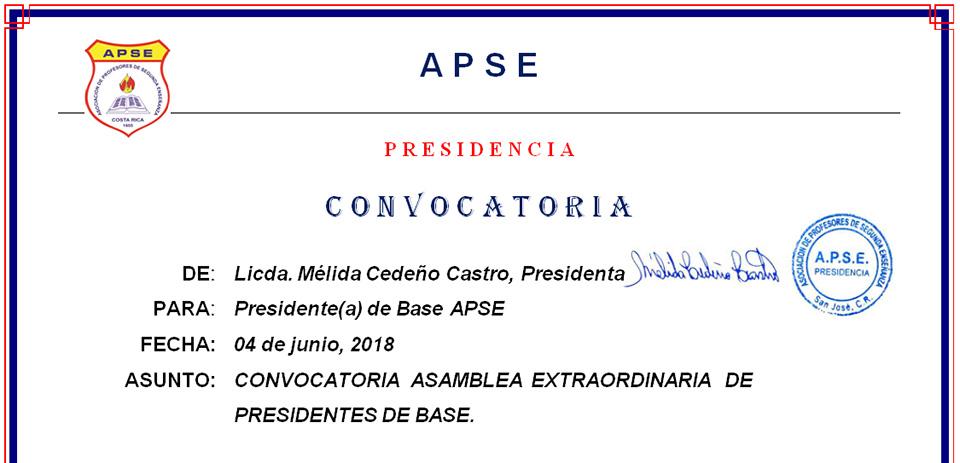 CONVOCATORIA ASAMBLEA EXTRAORDINARIA DE  PRESIDENTES DE BASE