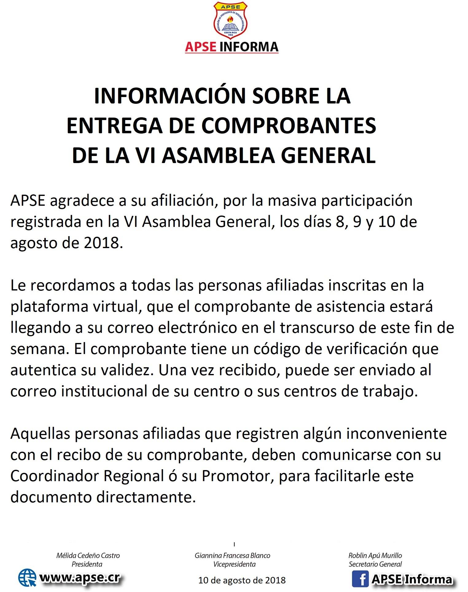 INFORMACIN SOBRE LA ENTREGA DE COMPROBANTES ASAMBLEA