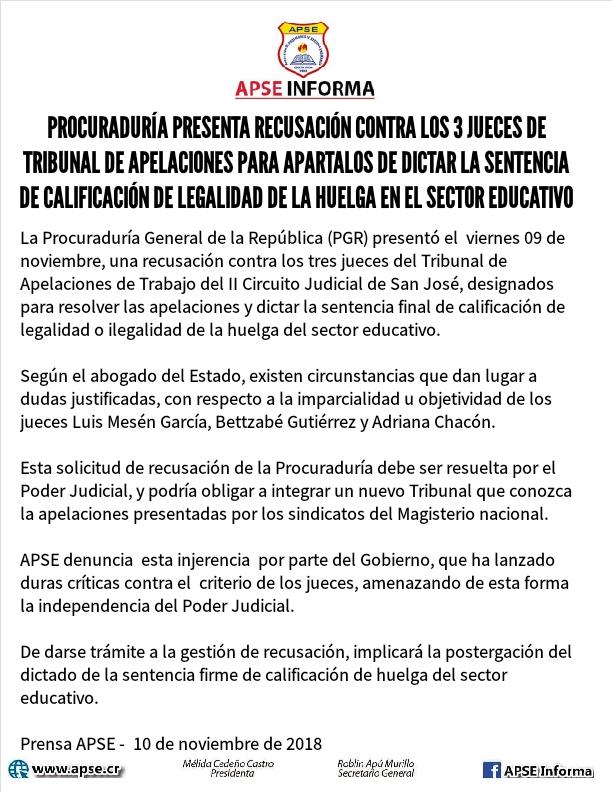 PROCURADURÍA PRESENTA RECUSACIÓN CONTRA LOS 3 JUECES DE TRIBUNAL DE APELACIONES PARA APARTALOS DE DICTAR LA SENTENCIA DE CALIFICACIÓN DE LEGALIDAD DE LA HUELGA EN EL SECTOR EDUCATIVO