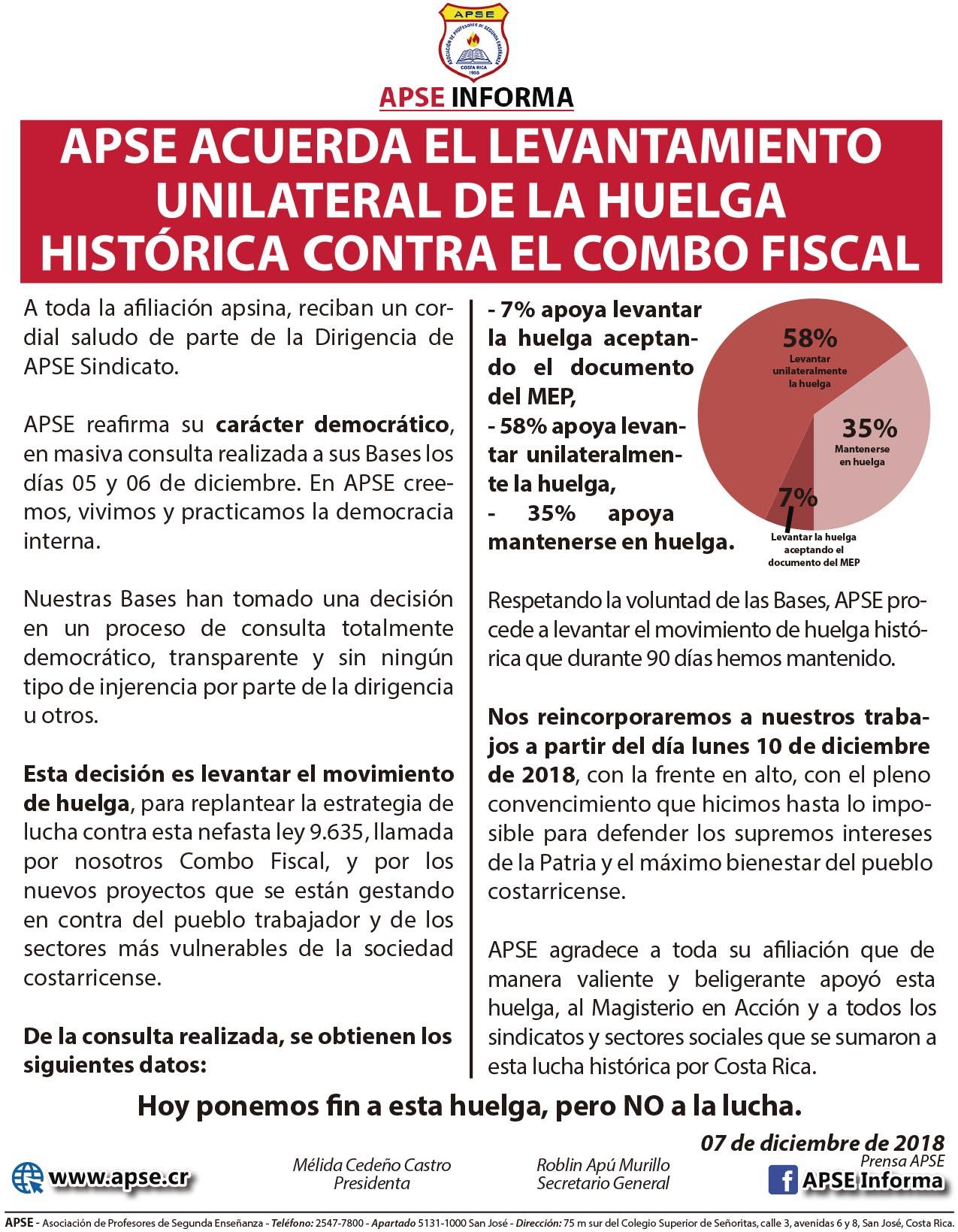 APSE ACUERDA EL LEVANTAMIENTO UNILATERAL DE LA HUELGA HISTÓRICA CONTRA EL COMBO FISCAL