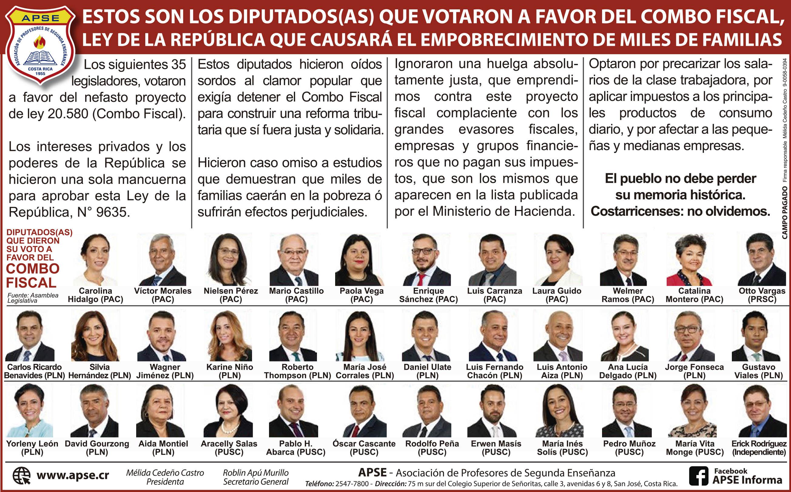 ESTOS SON LOS DIPUTADOS(AS) QUE VOTARON A FAVOR DEL COMBO FISCAL, LEY DE LA REPÚBLICA QUE CAUSARÁ EL EMPOBRECIMIENTO DE MILES DE FAMILIAS
