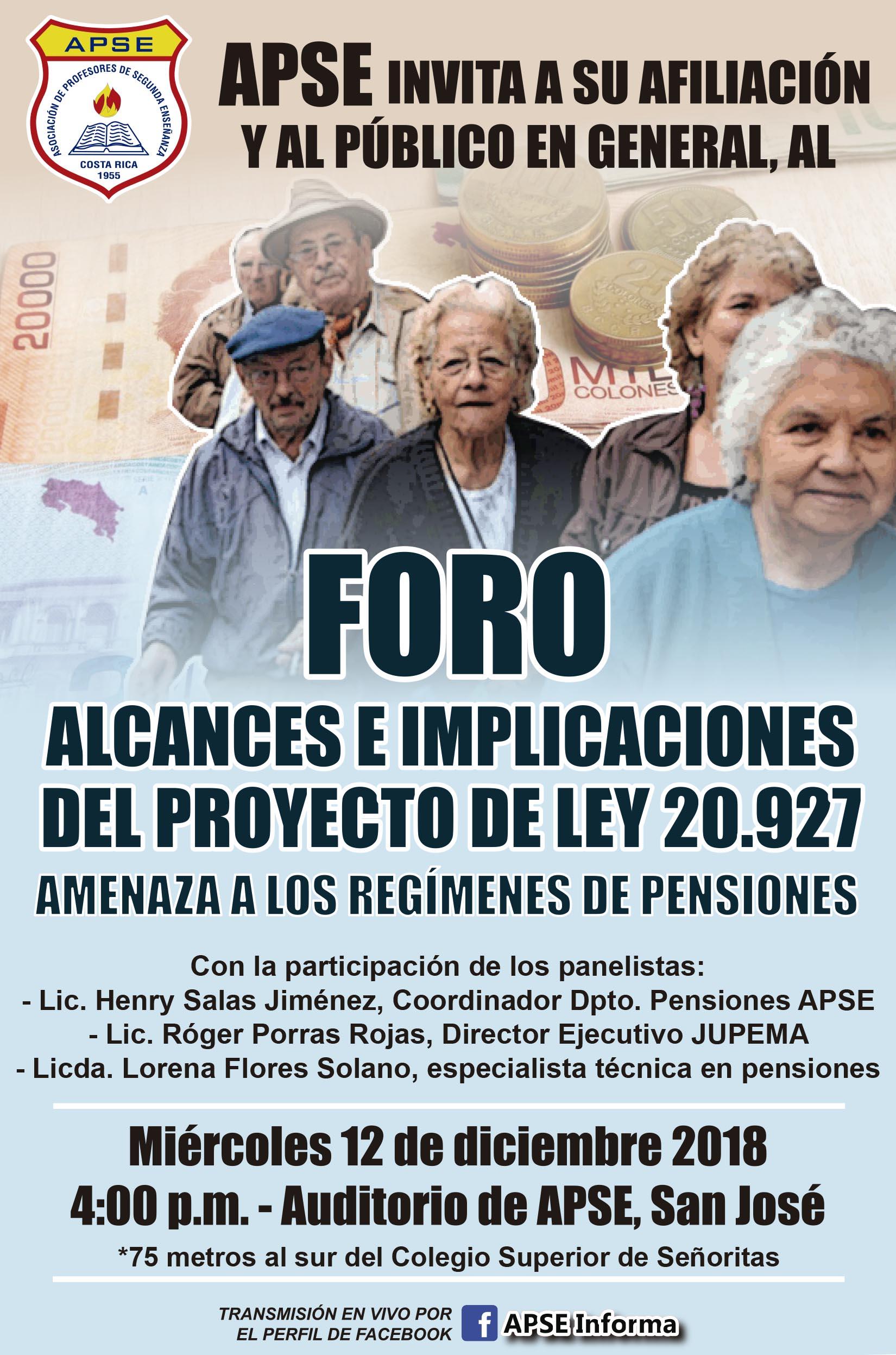 INVITACIÓN AL FORO: ALCANCES E IMPLICACIONES DEL PROYECTO DE LEY 20.927