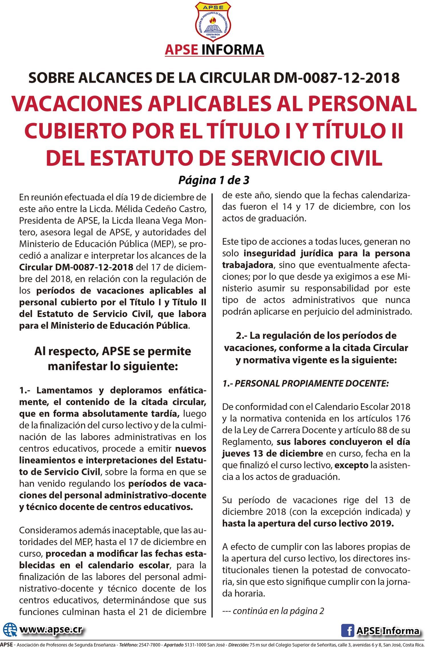SOBRE ALCANCES DE LA CIRCULAR DM-0087-12-2018 VACACIONES APLICABLES AL PERSONAL CUBIERTO POR EL TÍTULO I Y TÍTULO II DEL ESTATUTO DE SERVICIO CIVIL