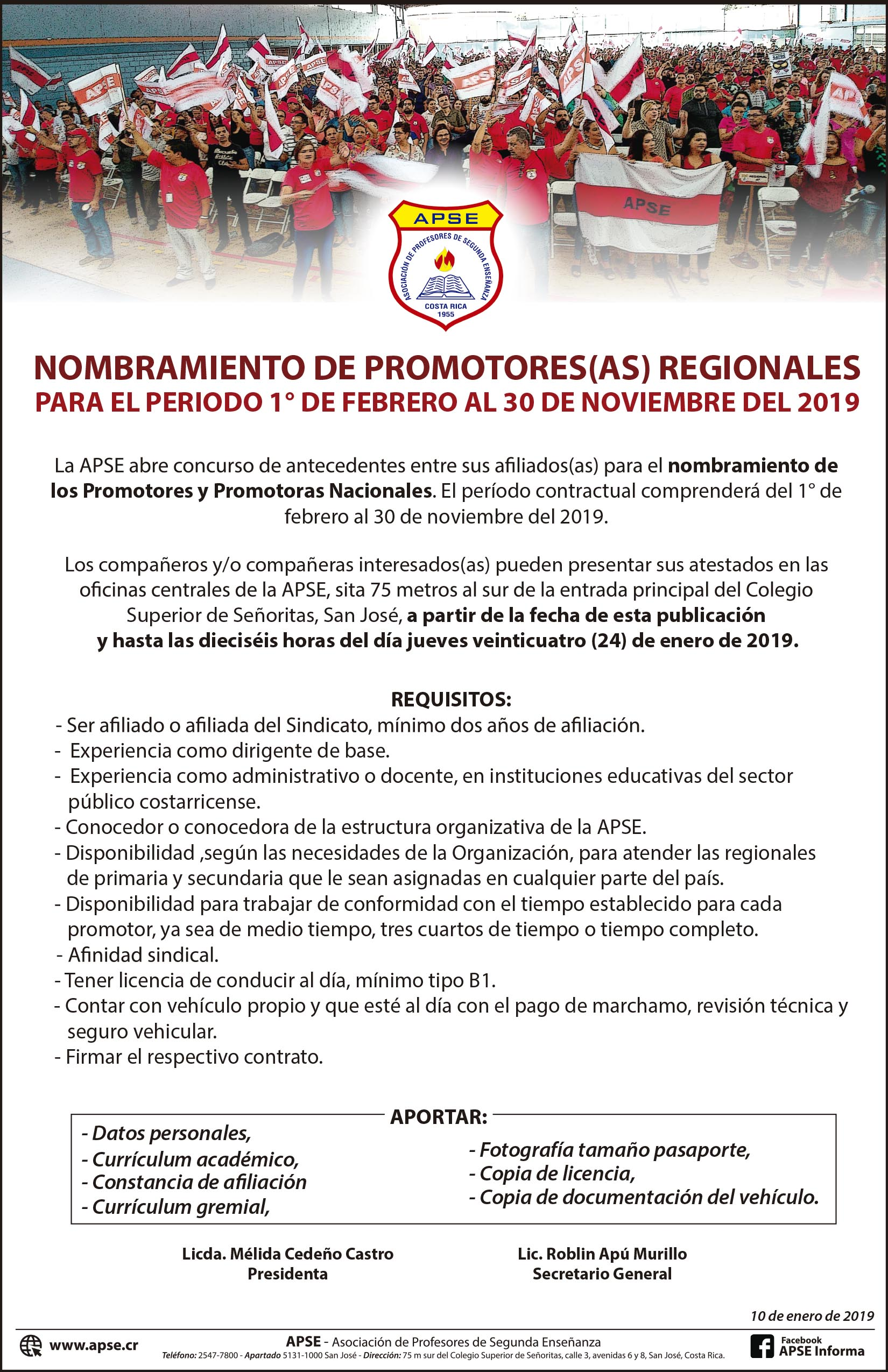 NOMBRAMIENTO DE PROMOTORES(AS) REGIONALES DE APSE PARA EL PERIODO 1° DE FEBRERO AL 30 DE NOVIEMBRE DEL 2019