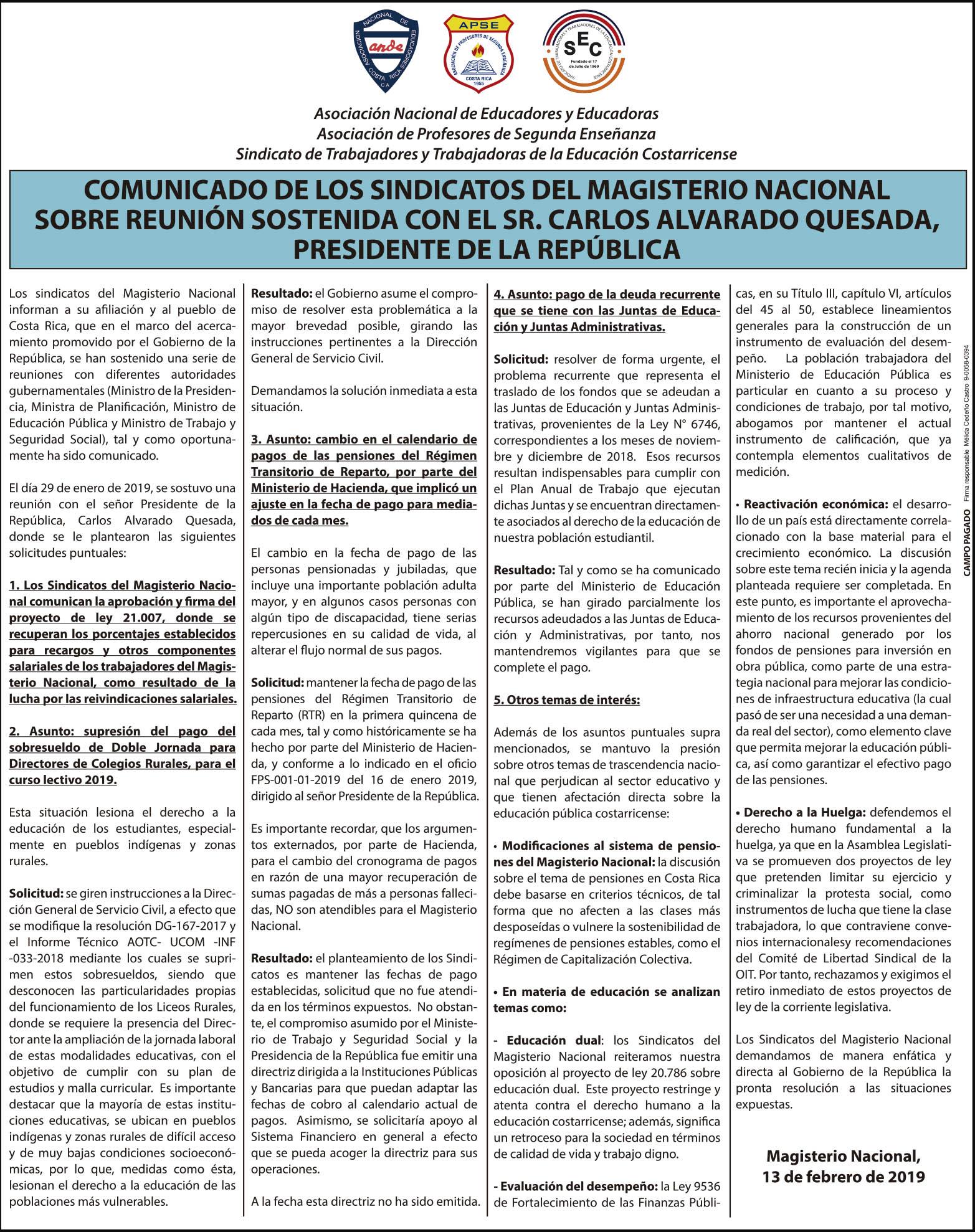 COMUNICADO DE LOS SINDICATOS DEL MAGISTERIO NACIONAL SOBRE REUNIÓN SOSTENIDA CON EL SR. CARLOS ALVARADO QUESADA, PRESIDENTE DE LA REPÚBLICA