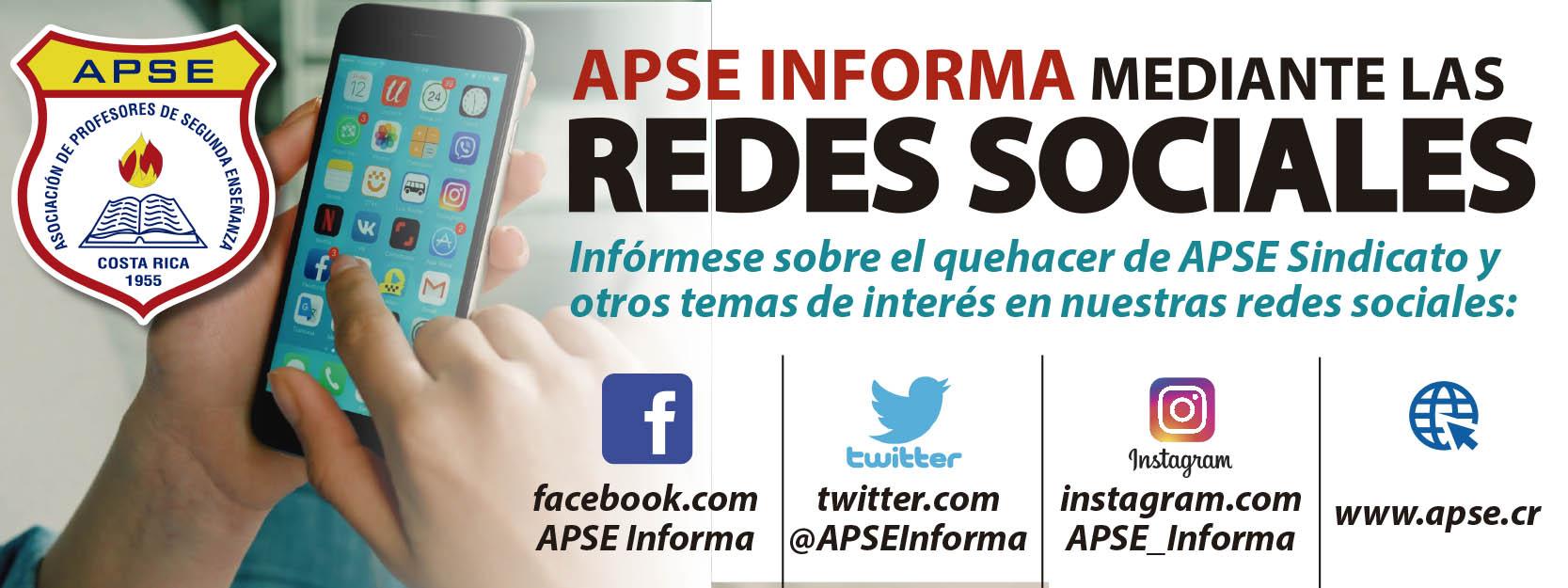 APSE INFORMA MEDIANTE LAS REDES SOCIALES