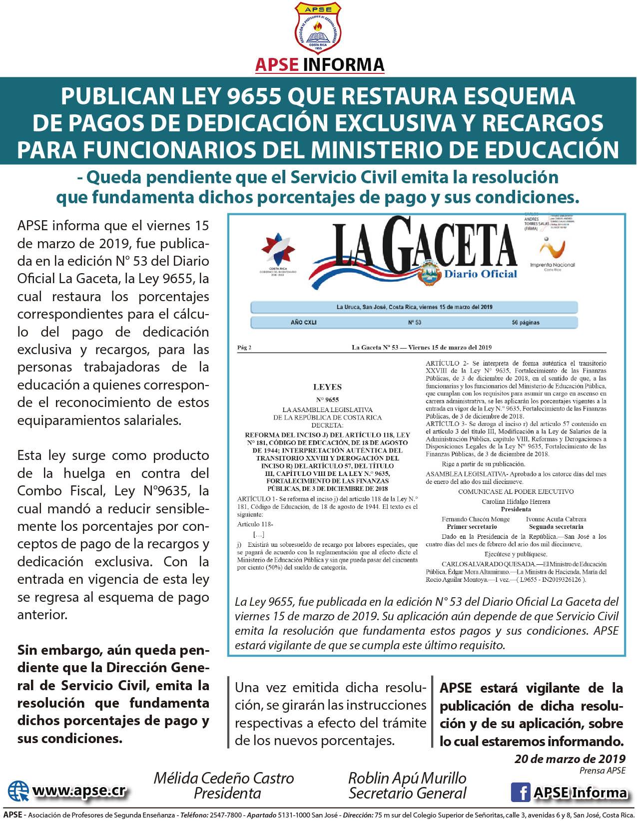 PUBLICAN LEY 9655 QUE RESTAURA ESQUEMA DE PAGOS DE DEDICACIÓN EXCLUSIVA Y RECARGOSPARA FUNCIONARIOS DEL MINISTERIO DE EDUCACIÓN