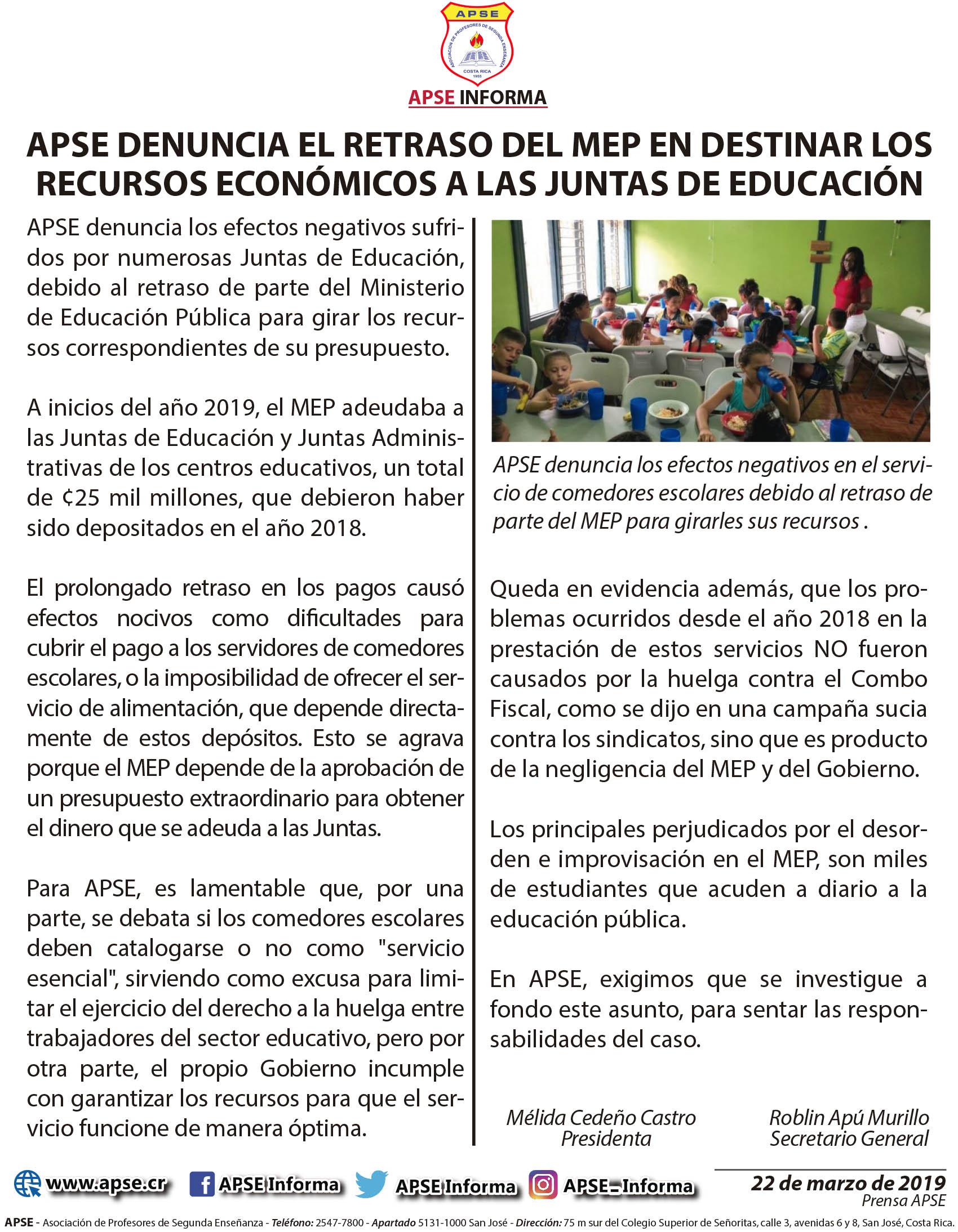 APSE DENUNCIA EL RETRASO DEL MEP EN DESTINAR LOS RECURSOS ECONÓMICOS A LAS JUNTAS DE EDUCACIÓN