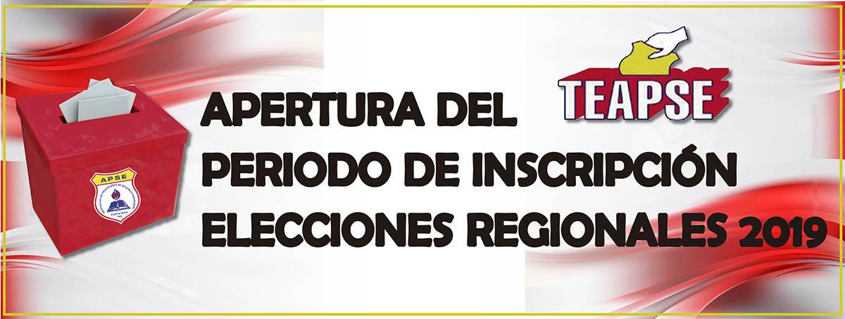 APERTURA DEL PERIODO DE INSCRIPCIÓN – ELECCIONES REGIONALES 2019
