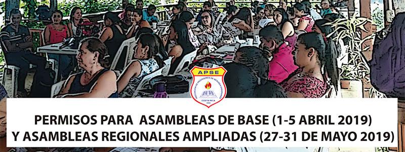 PERMISOS PARA  ASAMBLEAS DE BASE (1-5 ABRIL 2019) Y ASAMBLEAS REGIONALES AMPLIADAS (27-31 DE MAYO 2019)
