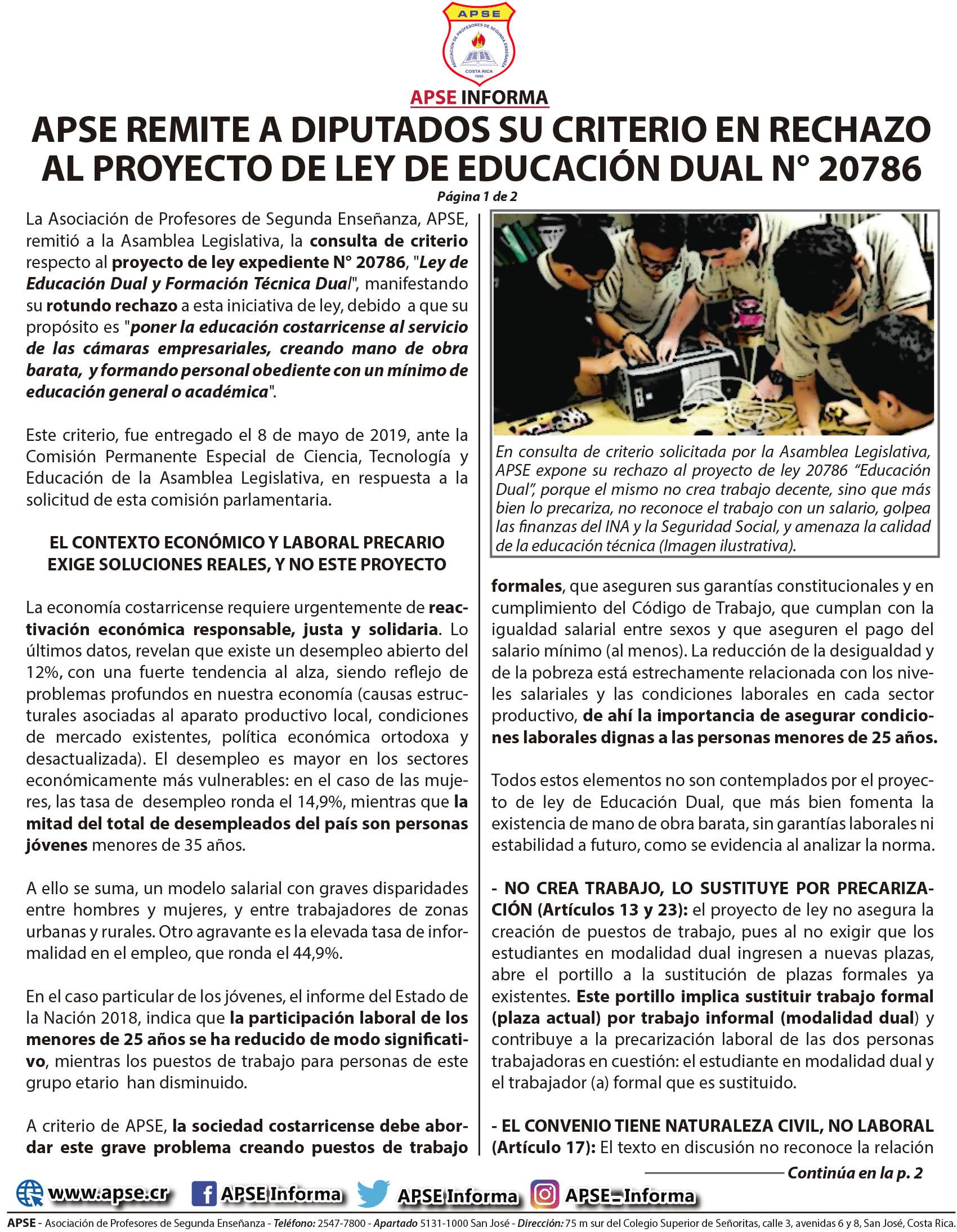 APSE REMITE A DIPUTADOS SU CRITERIO EN RECHAZO  AL PROYECTO DE LEY DE EDUCACIÓN DUAL N° 20786