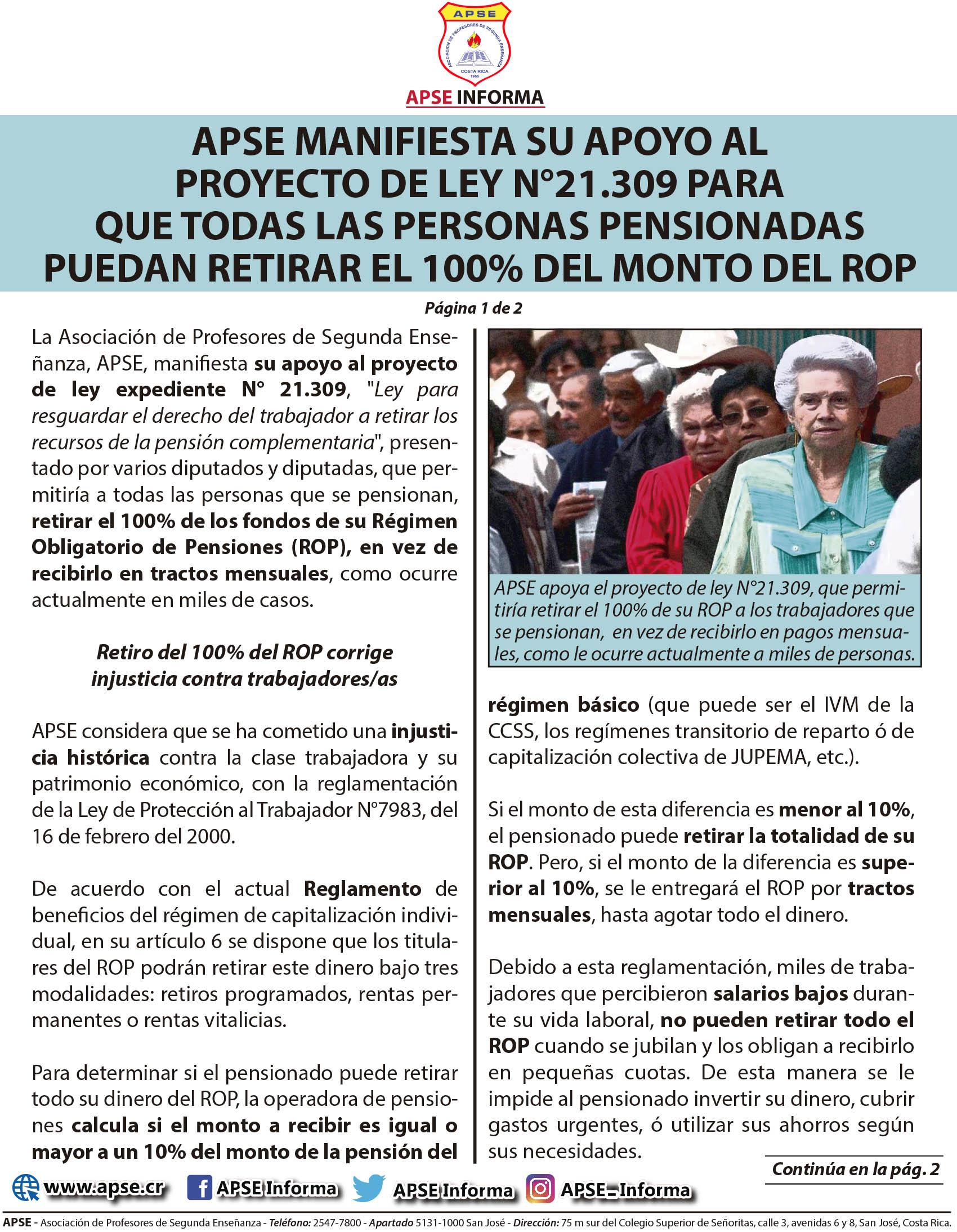 APSE MANIFIESTA SU APOYO AL PROYECTO DE LEY N°21.309 PARA QUE TODAS LAS PERSONAS PENSIONADAS PUEDAN RETIRAR EL 100% DEL MONTO DEL ROP
