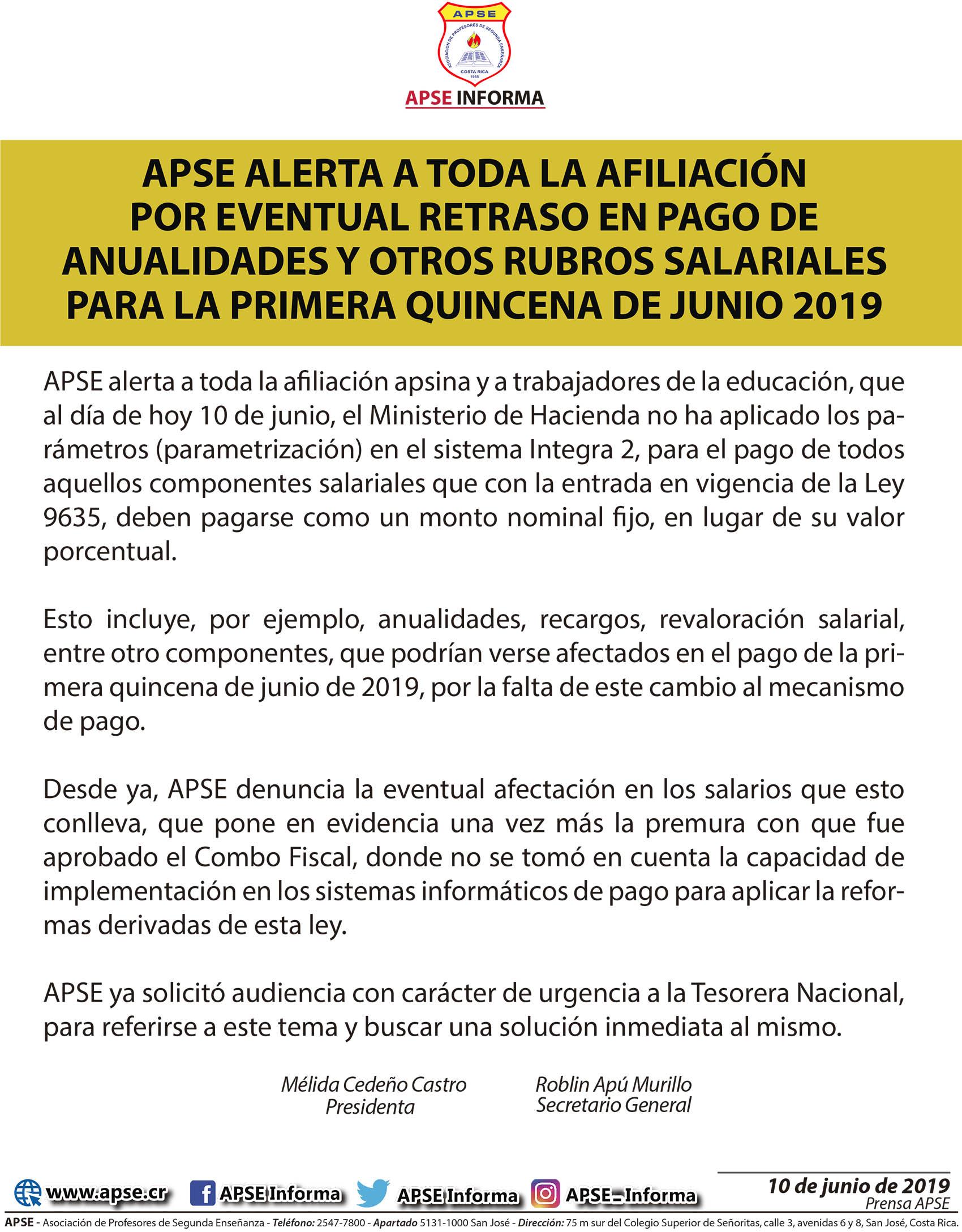 APSE ALERTA A TODA LA AFILIACIÓN POR EVENTUAL RETRASO EN PAGO DE ANUALIDADES Y OTROS RUBROS SALARIALES  PARA LA PRIMERA QUINCENA DE JUNIO 2019