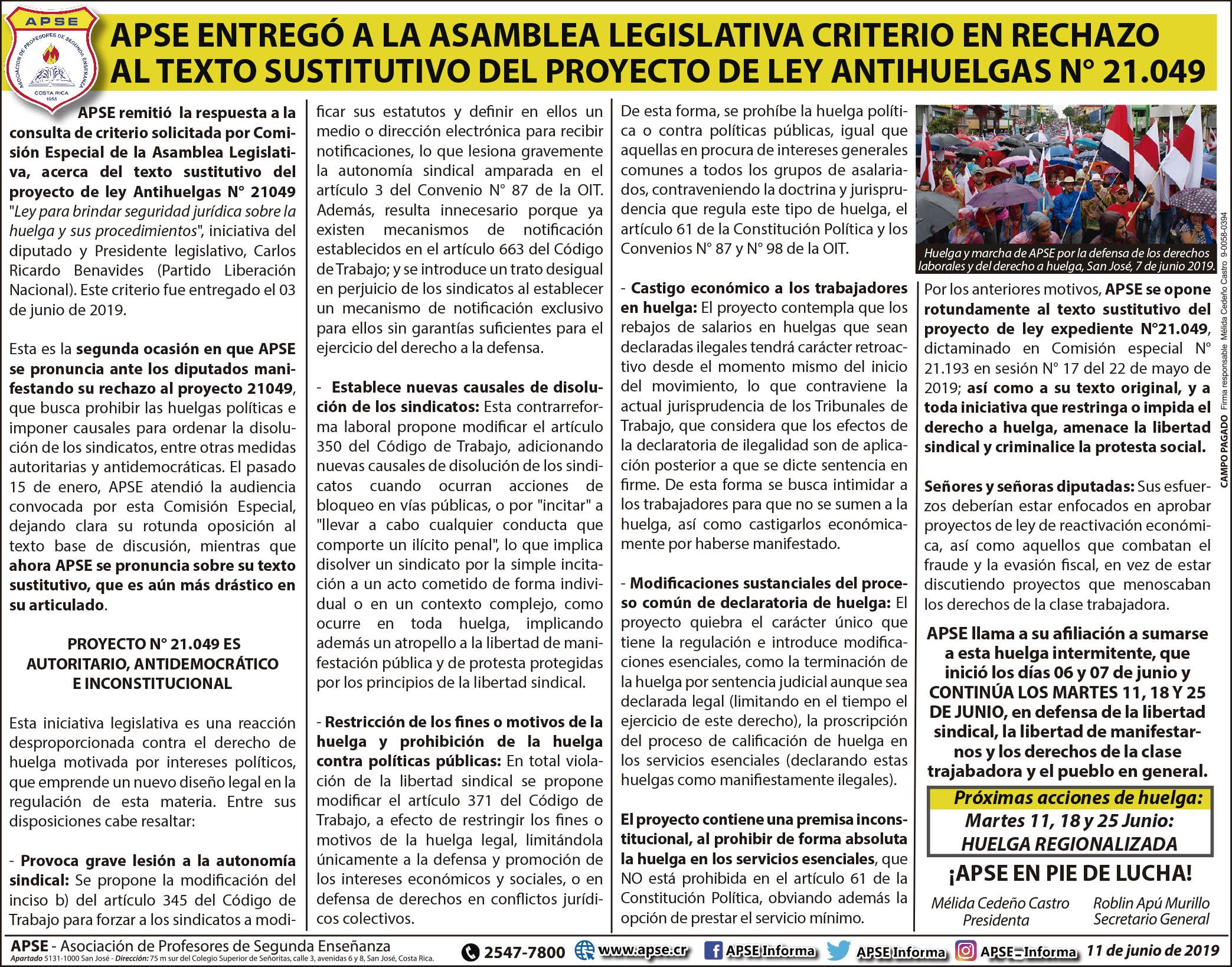 APSE ENTREGÓ A LA ASAMBLEA LEGISLATIVA CRITERIO EN RECHAZO AL TEXTO SUSTITUTIVO DEL PROYECTO DE LEY ANTIHUELGAS N° 21.049