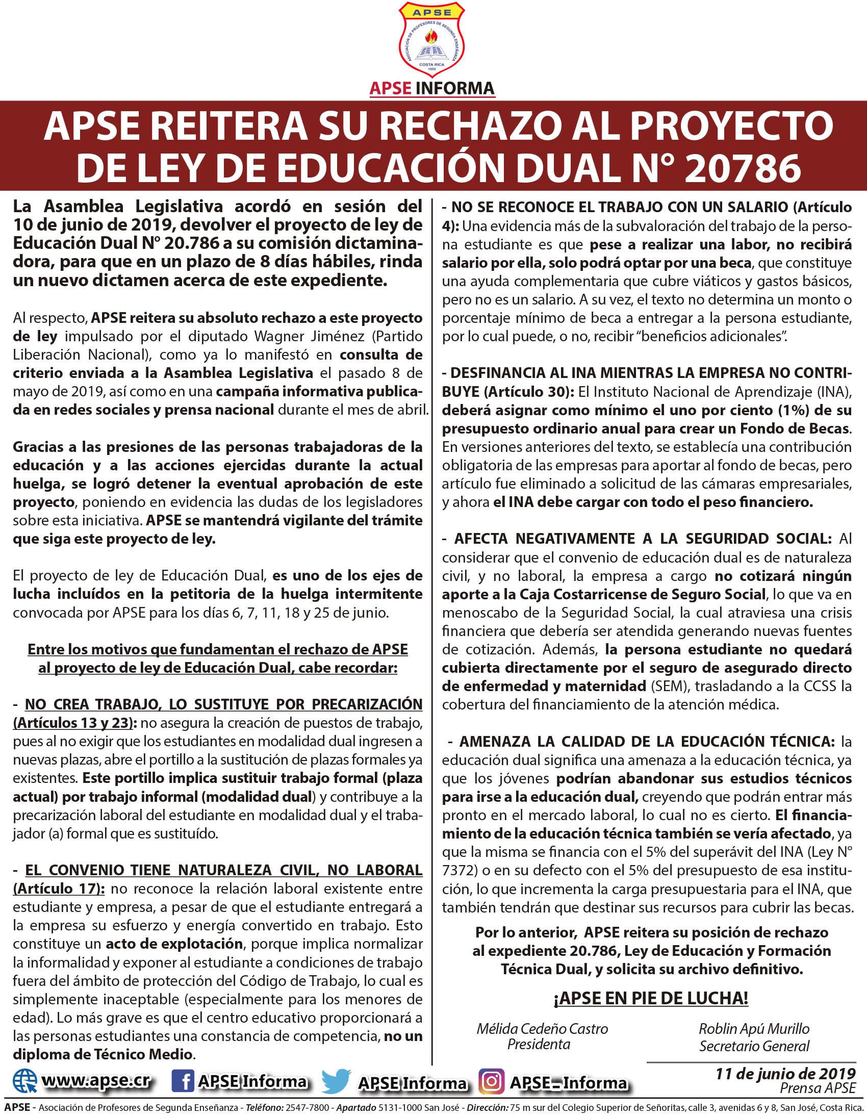 APSE REITERA SU RECHAZO AL PROYECTO DE LEY DE EDUCACIÓN DUAL N° 20786