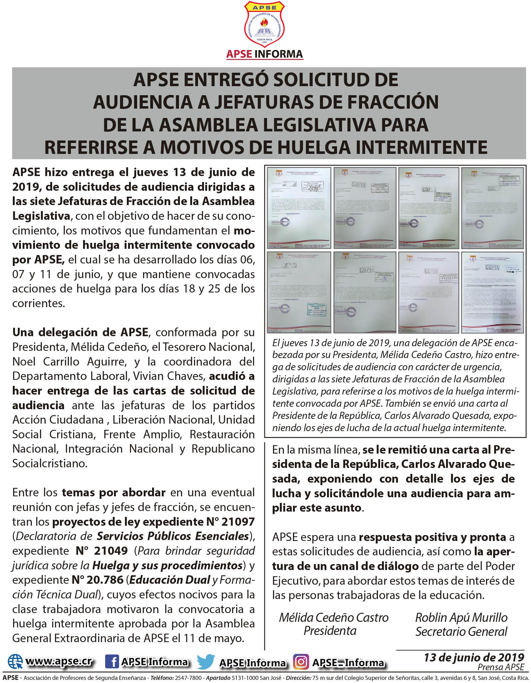 APSE ENTREGÓ SOLICITUD DE AUDIENCIA A JEFATURAS DE FRACCIÓN DE LA ASAMBLEA LEGISLATIVA PARA REFERIRSE A MOTIVOS DE HUELGA INTERMITENTE