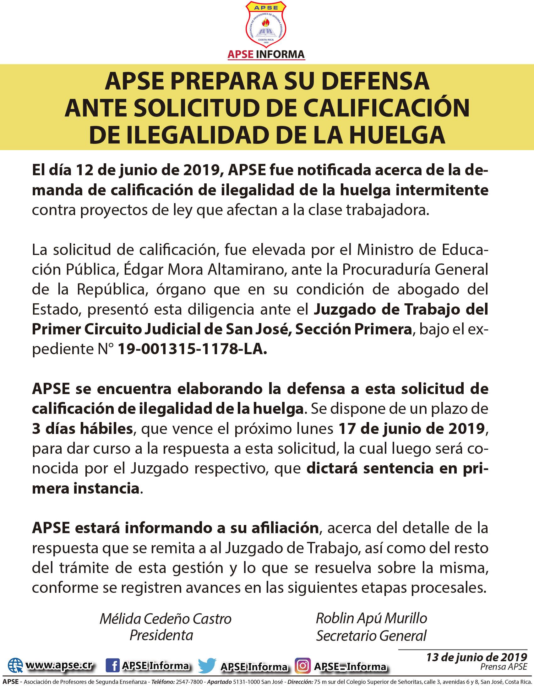 APSE PREPARA SU DEFENSA ANTE SOLICITUD DE CALIFICACIÓN DE ILEGALIDAD DE LA HUELGA
