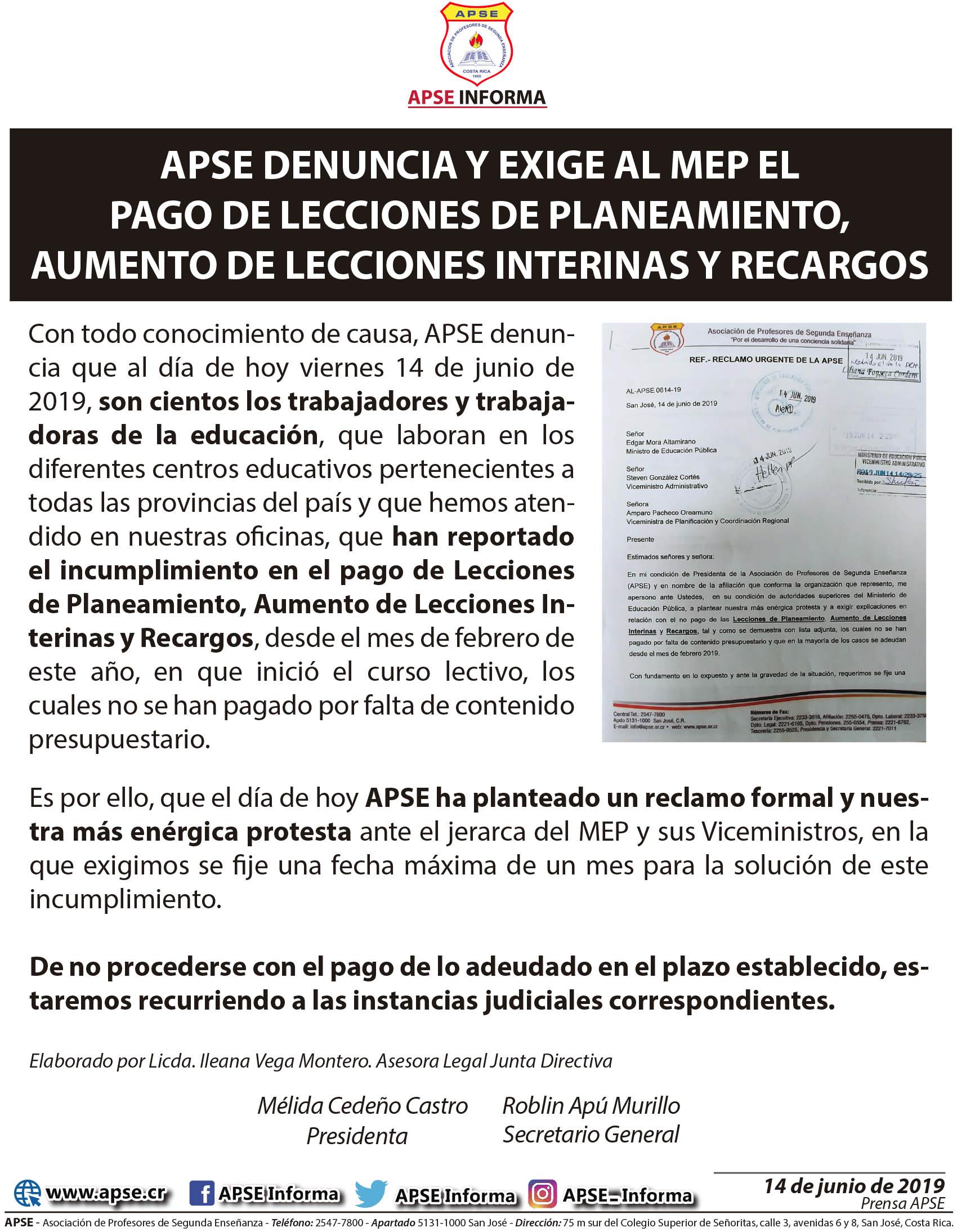 APSE DENUNCIA Y EXIGE AL MEP EL PAGO DE LECCIONES DE PLANEAMIENTO, AUMENTO DE LECCIONES INTERINAS Y RECARGOS