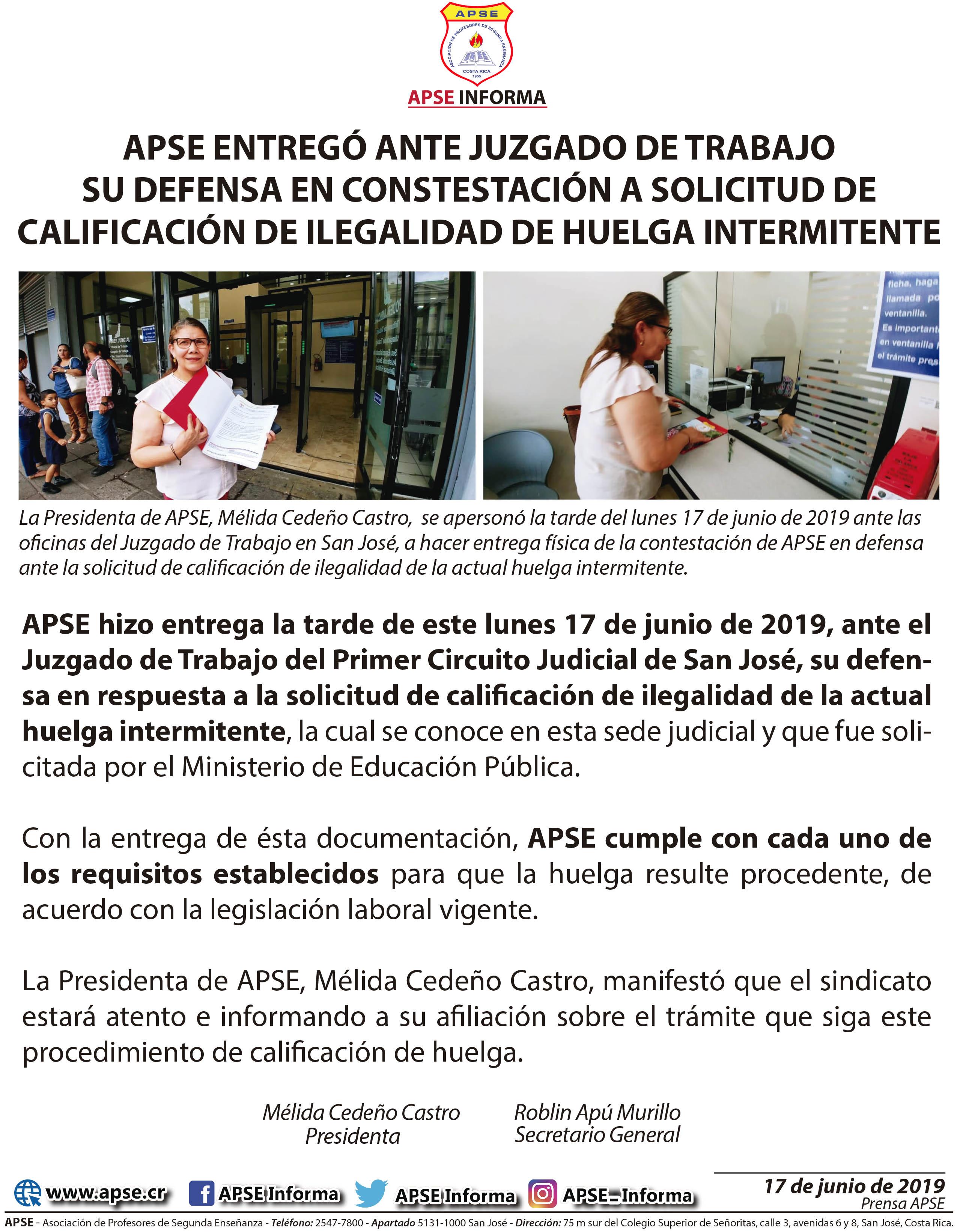 APSE ENTREGÓ ANTE JUZGADO DE TRABAJO SU DEFENSA EN CONSTESTACIÓN A SOLICITUD DE CALIFICACIÓN DE ILEGALIDAD DE HUELGA INTERMITENTE