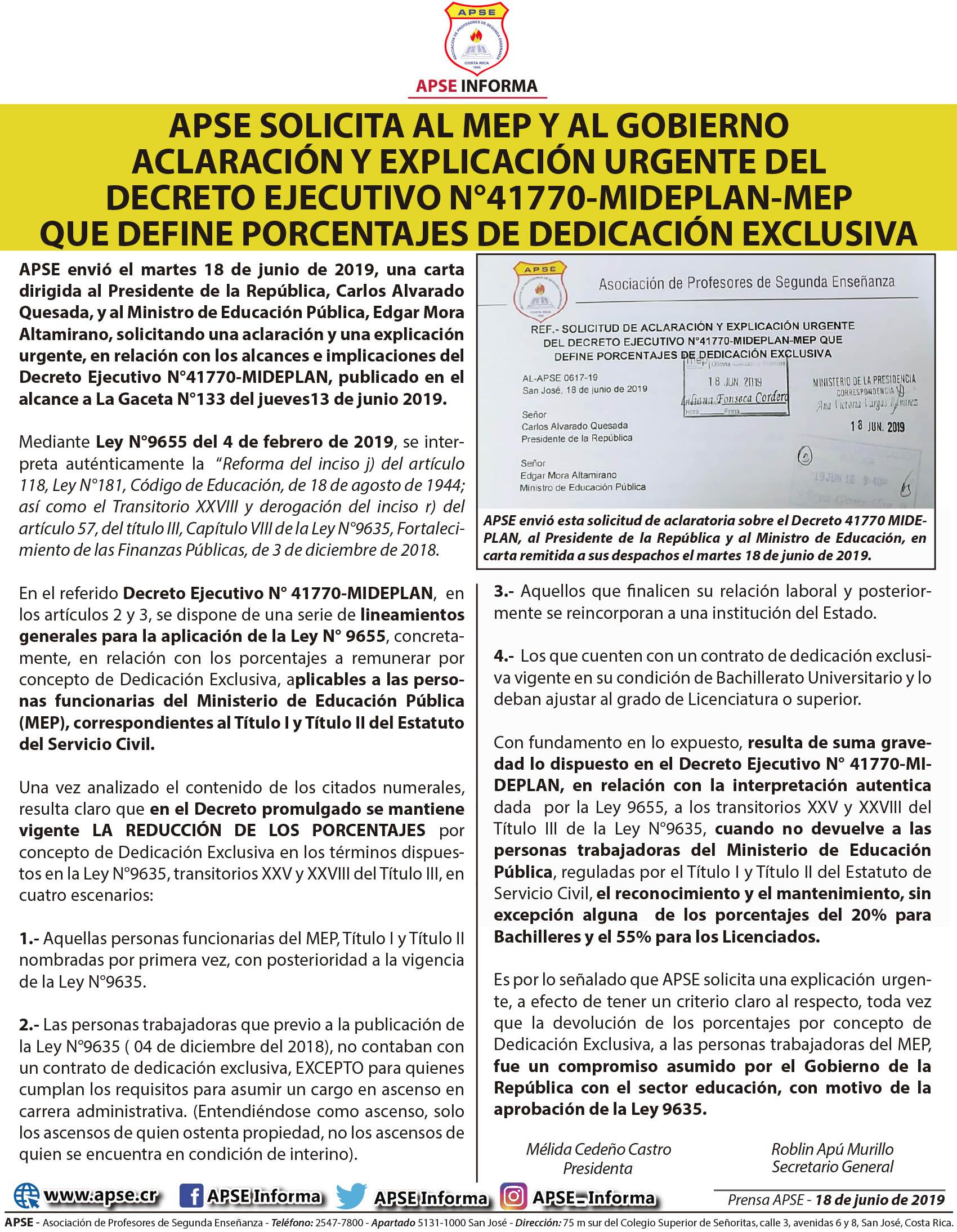 APSE SOLICITA AL MEP Y AL GOBIERNO ACLARACIÓN Y EXPLICACIÓN URGENTE DEL DECRETO EJECUTIVO N°41770-MIDEPLAN-MEP QUE DEFINE PORCENTAJES DE DEDICACIÓN EXCLUSIVA