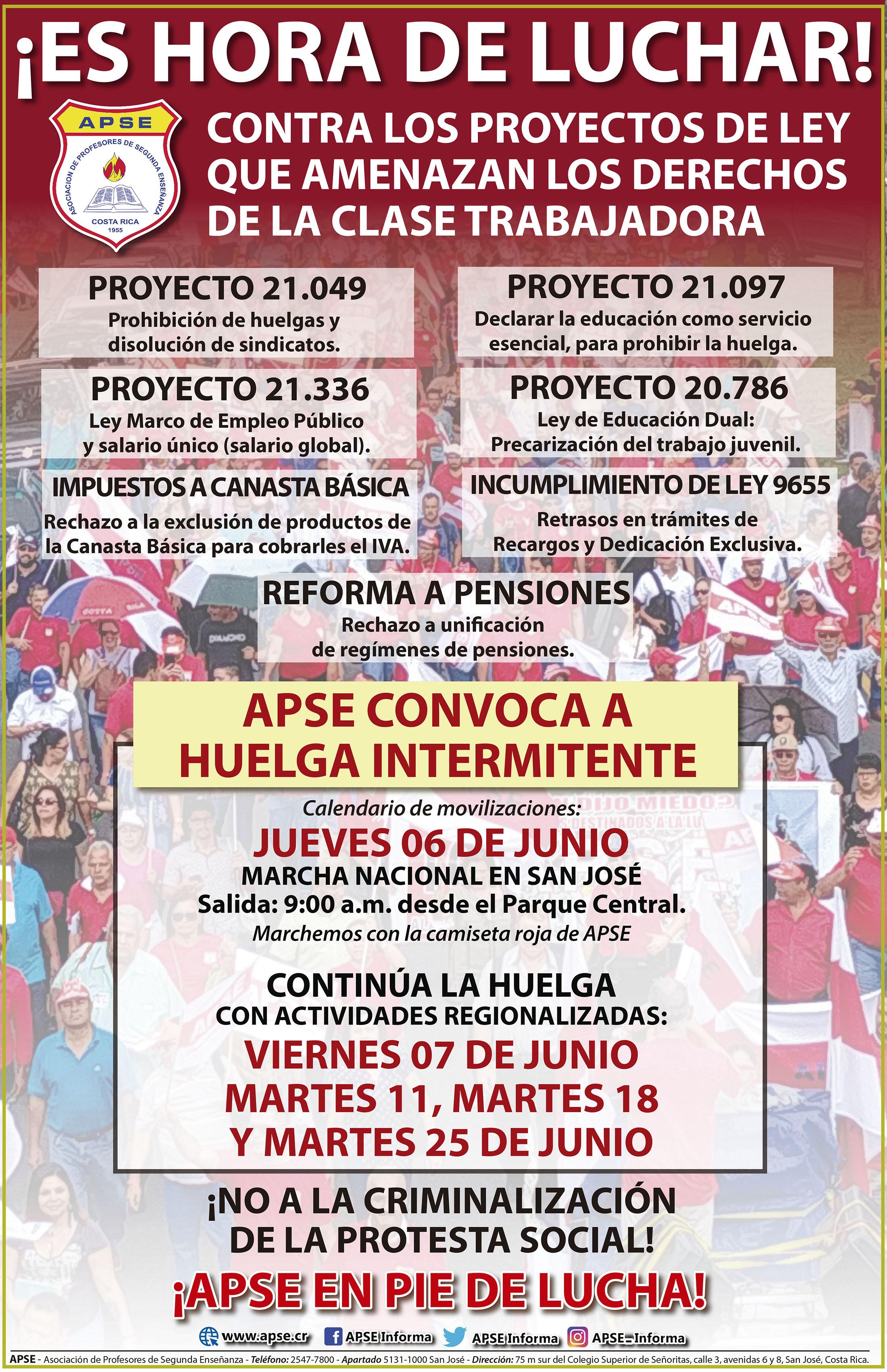 CONSEJO NACIONAL DE APSE DEFINE ESTRATEGIA DE HUELGA CONTRA PROYECTOS QUE AFECTAN A LA CLASE TRABAJADORA