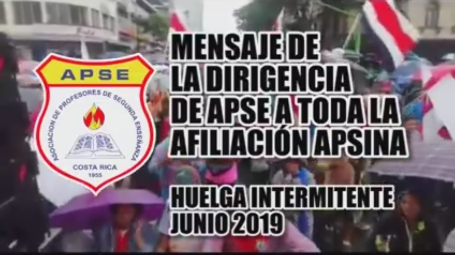 MENSAJE DE LA DIRIGENCIA DE APSE A TODA LA AFILIACIÓN APSINA