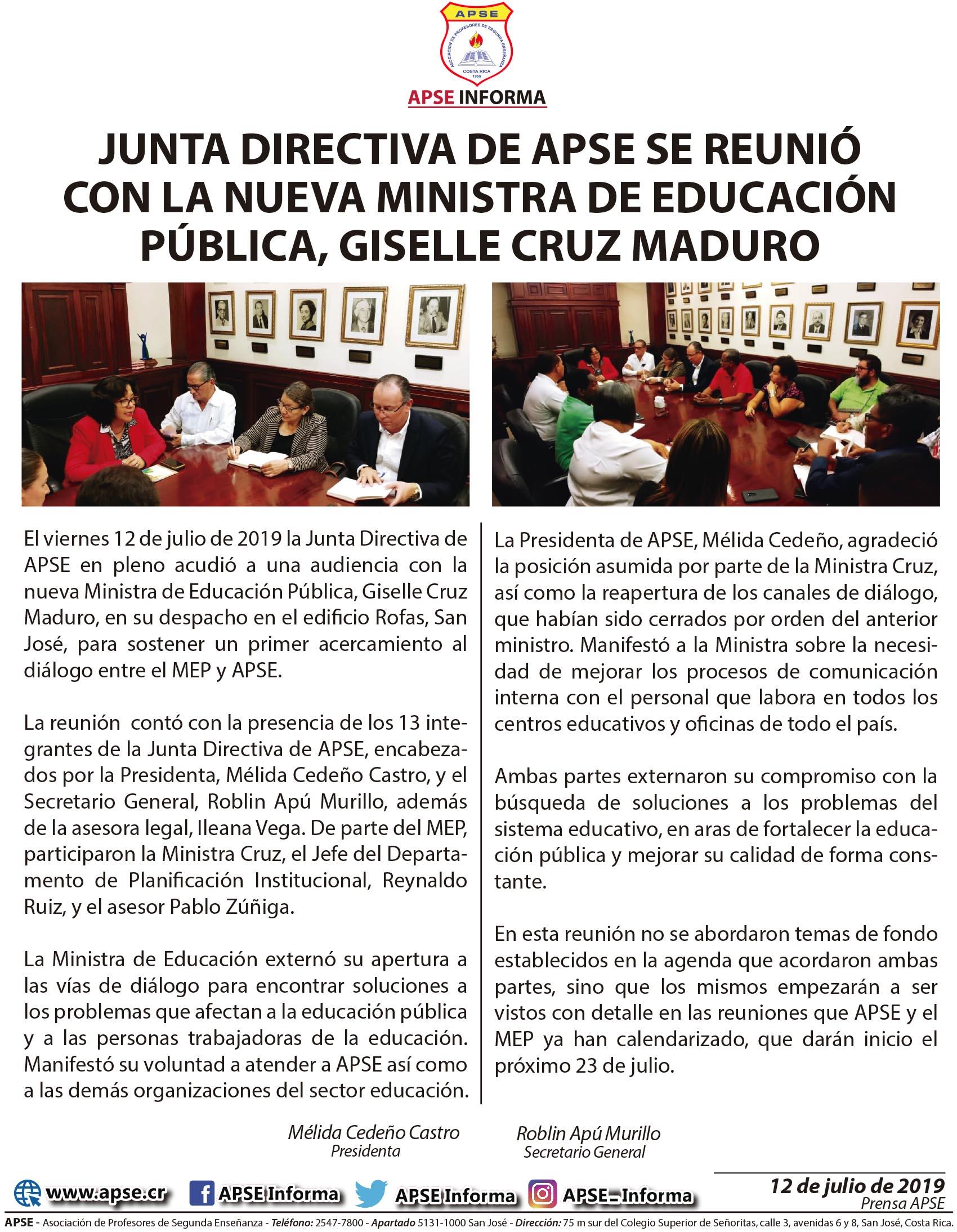 JUNTA DIRECTIVA DE APSE SE REUNIÓ CON LA NUEVA MINISTRA DE EDUCACIÓN PÚBLICA, GISELLE CRUZ MADURO