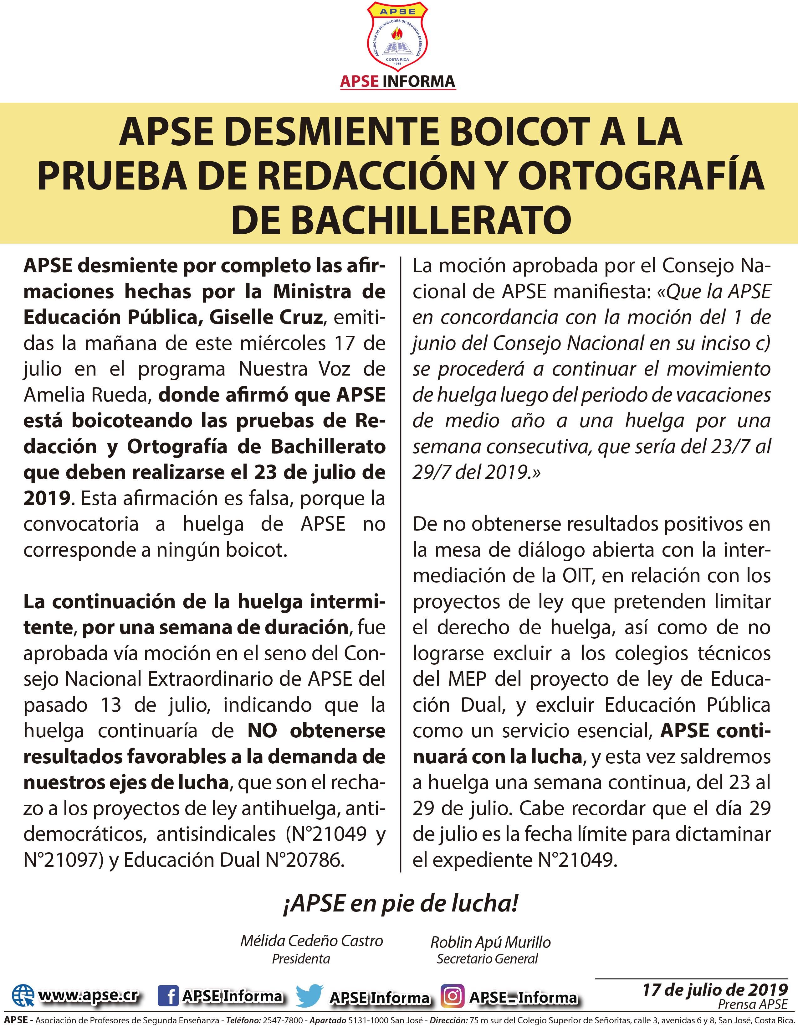 APSE DESMIENTE BOICOT A LA PRUEBA DE REDACCIÓN Y ORTOGRAFÍA DE BACHILLERATO