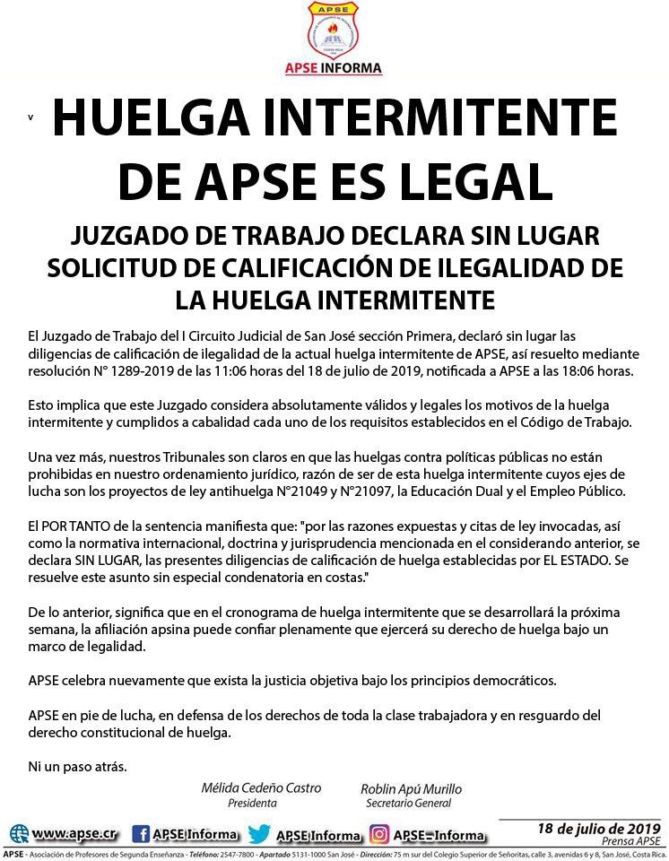 HUELGA INTERMITENTE DE APSE ES LEGAL