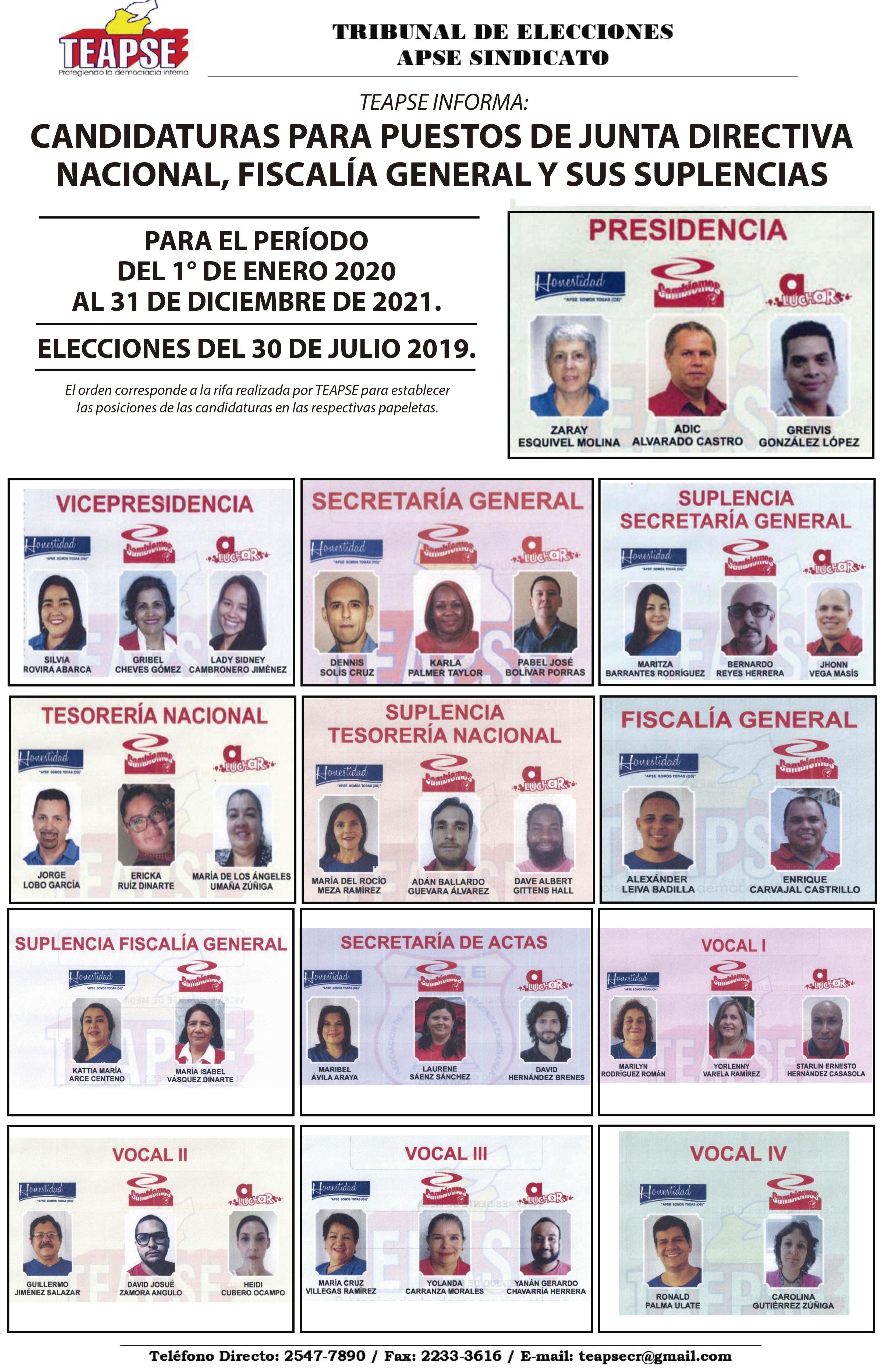 TEAPSE INFORMA:  CANDIDATURAS NACIONALES PARA JUNTA DIRECTIVA, FISCALÍA Y SUPLENCIAS, PERÍODO 2020-2021