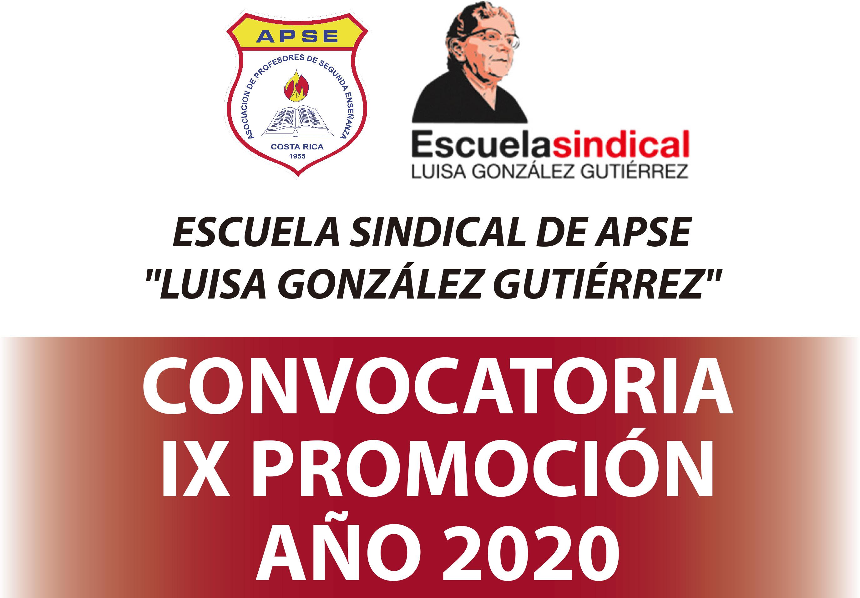 ESCUELA SINDICAL DE APSE: CONVOCATORIA IX PROMOCIÓN, AÑO 2020