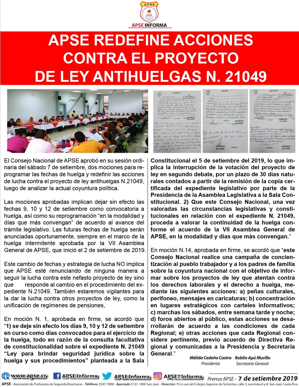 APSE REDEFINE ACCIONES  CONTRA EL PROYECTO DE LEY ANTIHUELGAS N. 21049