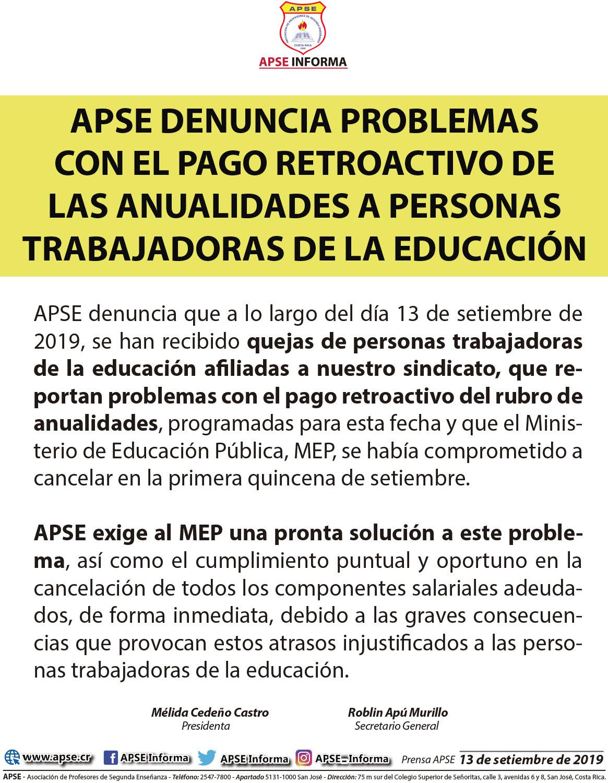 APSE DENUNCIA PROBLEMAS CON EL PAGO RETROACTIVO DE LAS ANUALIDADES A PERSONAS TRABAJADORAS DE LA EDUCACIÓN