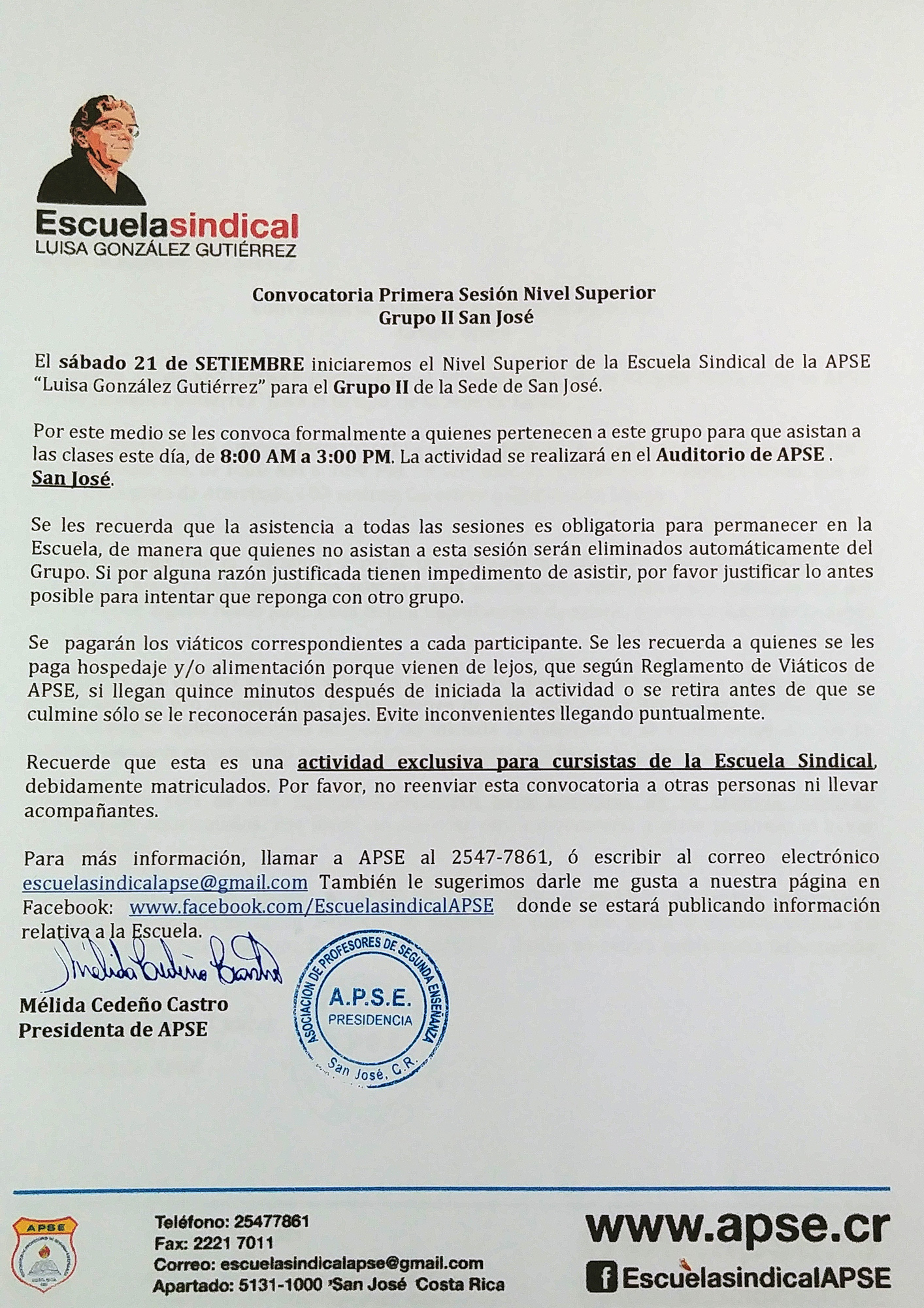 ESCUELA SINDICAL DE APSE – CONVOCATORIA PRIMERA SESIÓN NIVEL SUPERIOR – GRUPO SAN JOSÉ 2 – SÁBADO 21 DE SETIEMBRE 2019