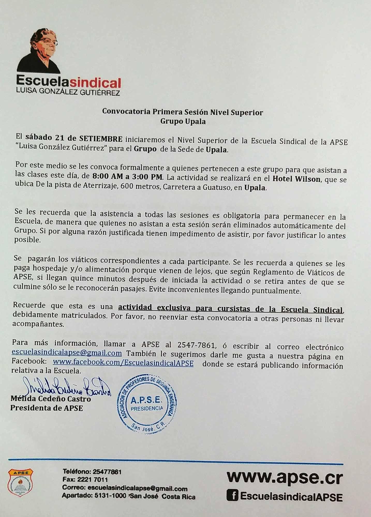ESCUELA SINDICAL DE APSE – CONVOCATORIA PRIMERA SESIÓN NIVEL SUPERIOR – GRUPO UPALA – SÁBADO 21 DE SETIEMBRE DE 2019
