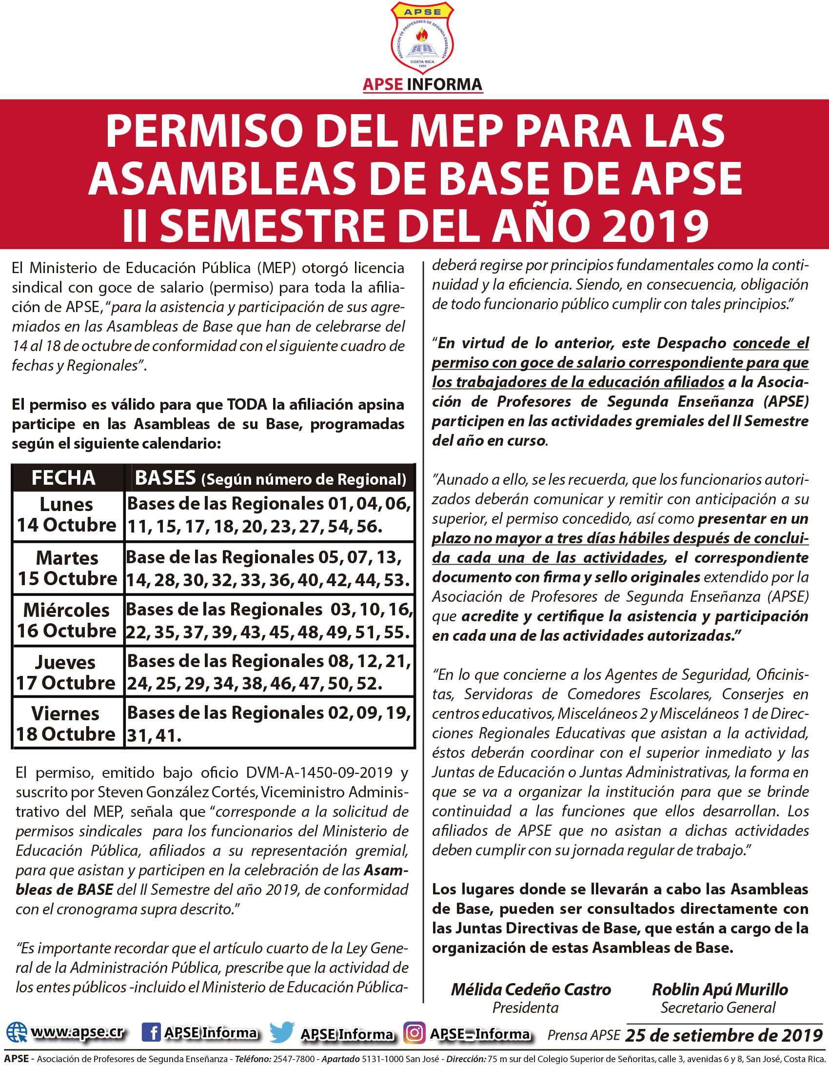 PERMISO DEL MEP PARA LAS ASAMBLEAS DE BASE DE APSE – II SEMESTRE DEL AÑO 2019