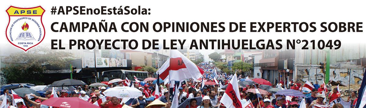 #APSEnoEstáSola: CAMPAÑA CON OPINIONES DE EXPERTOS SOBRE EL PROYECTO DE LEY ANTIHUELGAS N°21049