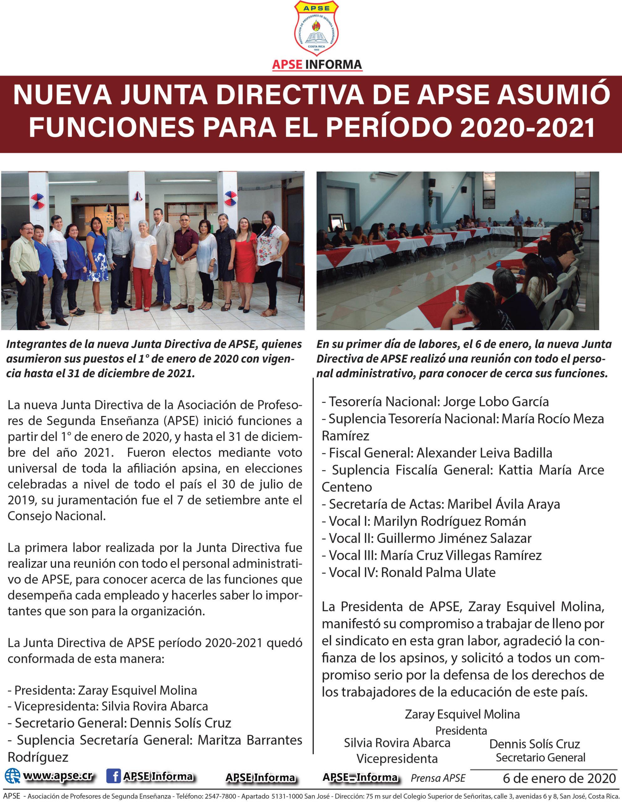 Nueva Junta Directiva de APSE asumió funciones para el período 2020-2021