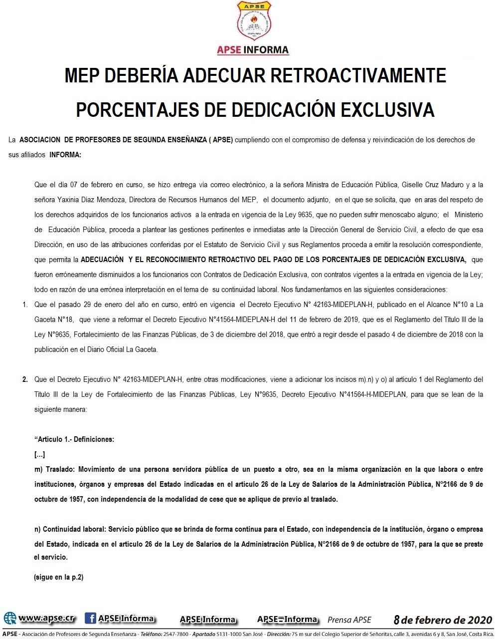 MEP DEBERÍA ADECUAR RETROACTIVAMENTE PORCENTAJES DE DEDICACIÓN EXCLUSIVA