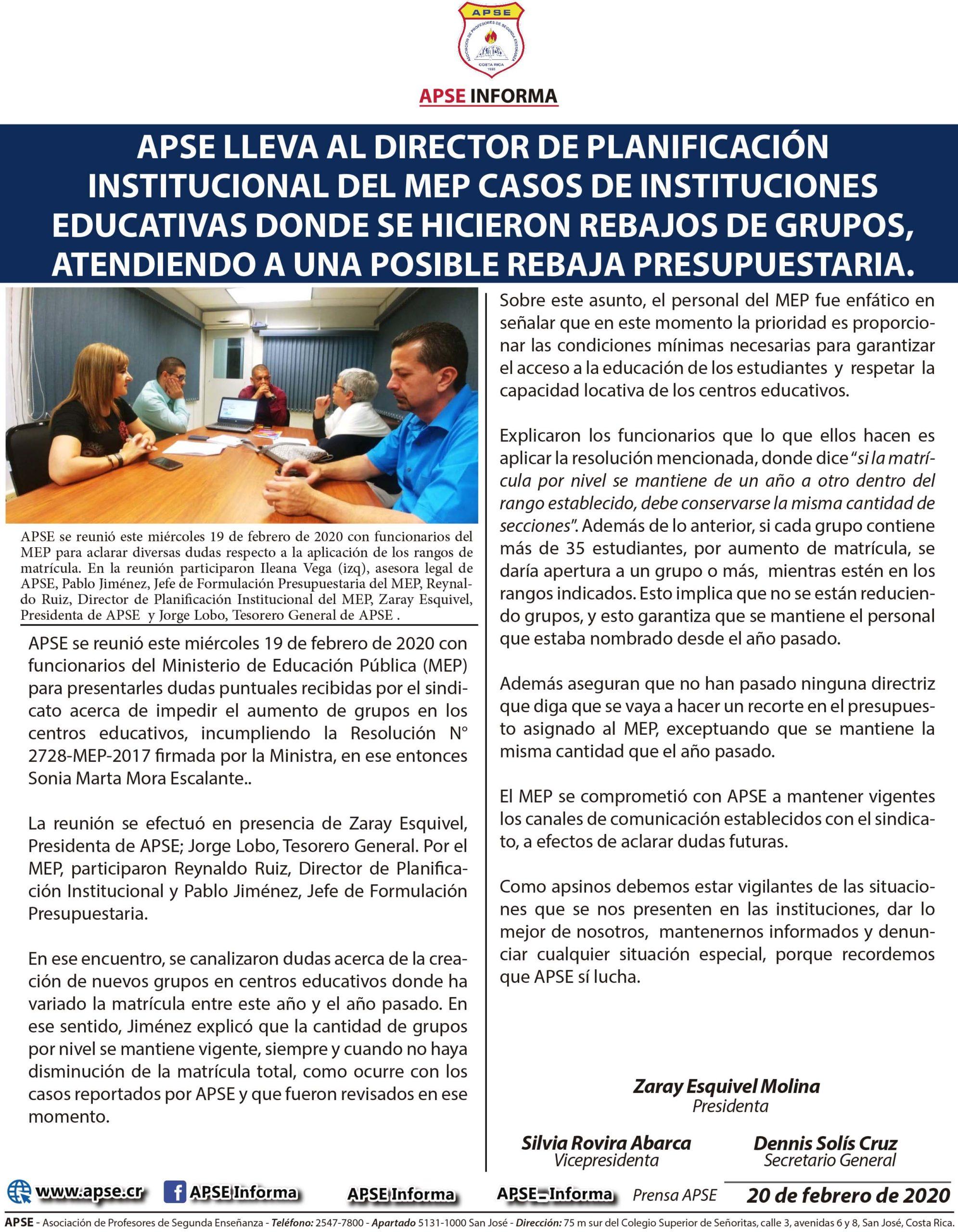 APSE LLEVA AL DIRECTOR DE PLANIFICACIÓN INSTITUCIONAL DEL MEP CASOS DE INSTITUCIONES EDUCATIVAS DONDE SE HICIERON REBAJOS DE GRUPOS, ATENDIENDO A UNA POSIBLE REBAJA PRESUPUESTARIA