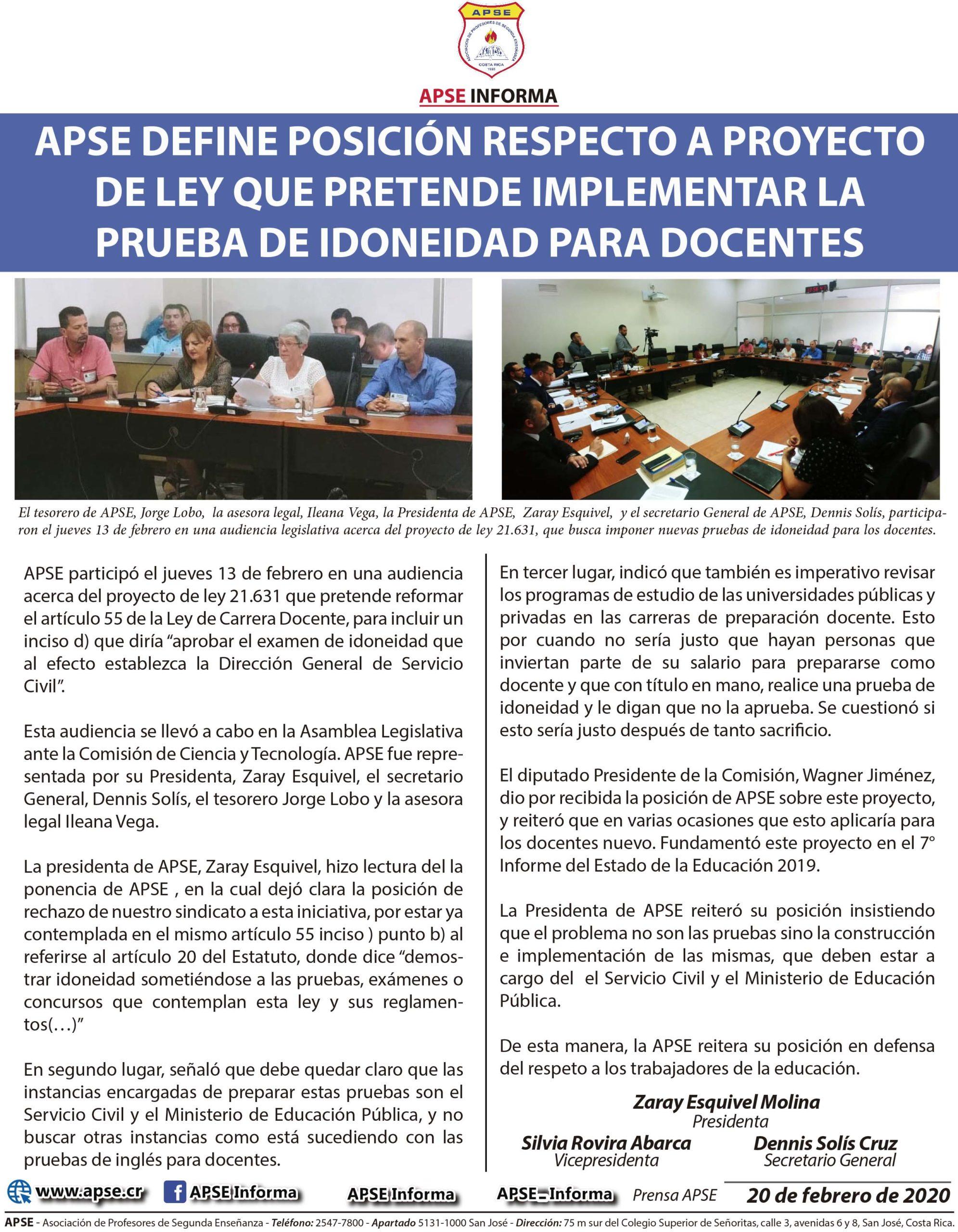 APSE DEFINE POSICIÓN RESPECTO A PROYECTO DE LEY QUE PRETENDE IMPLEMENTAR LA PRUEBA DE IDONEIDAD PARA DOCENTES
