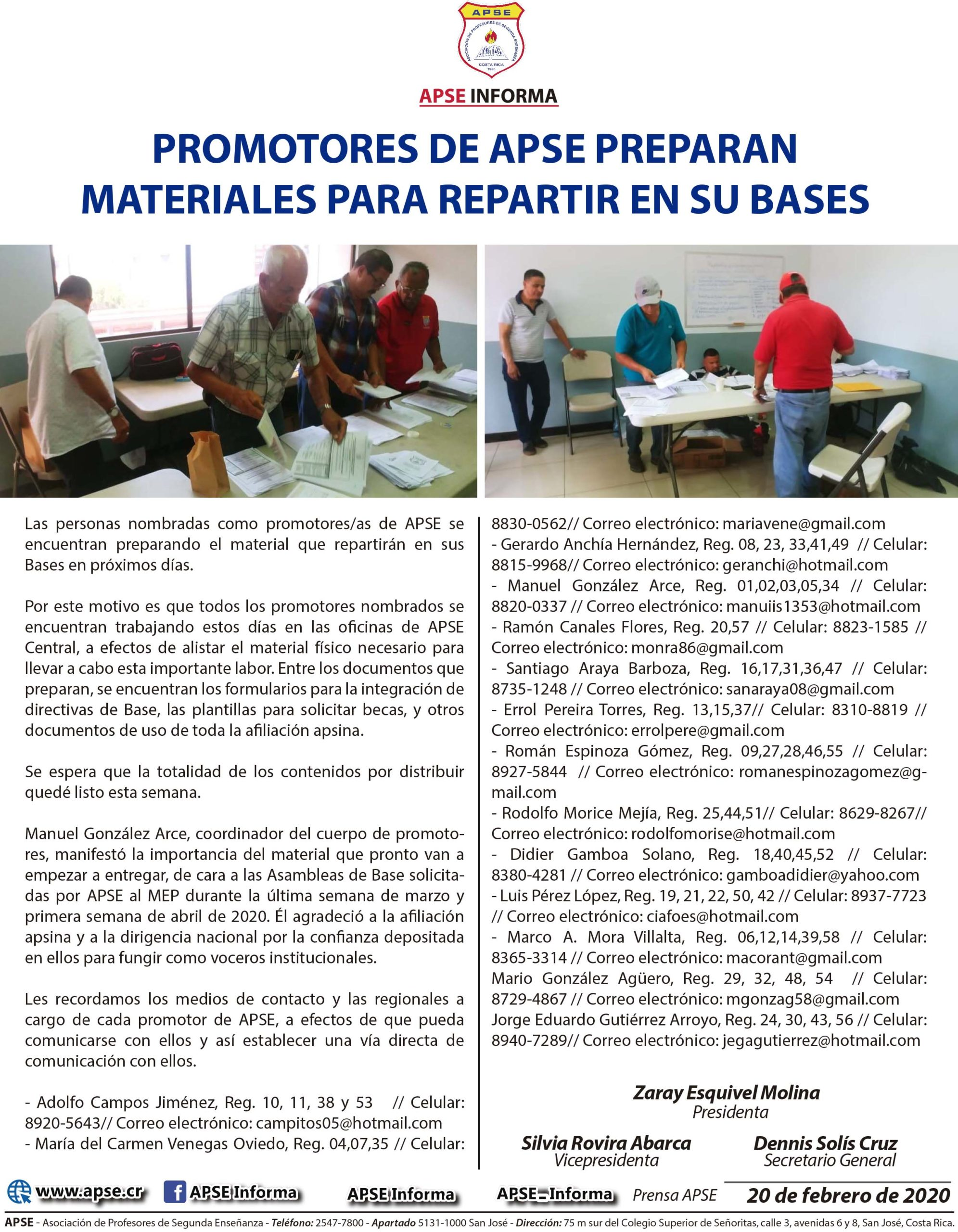 PROMOTORES DE APSE PREPARAN MATERIALES PARA REPARTIR EN SU BASES