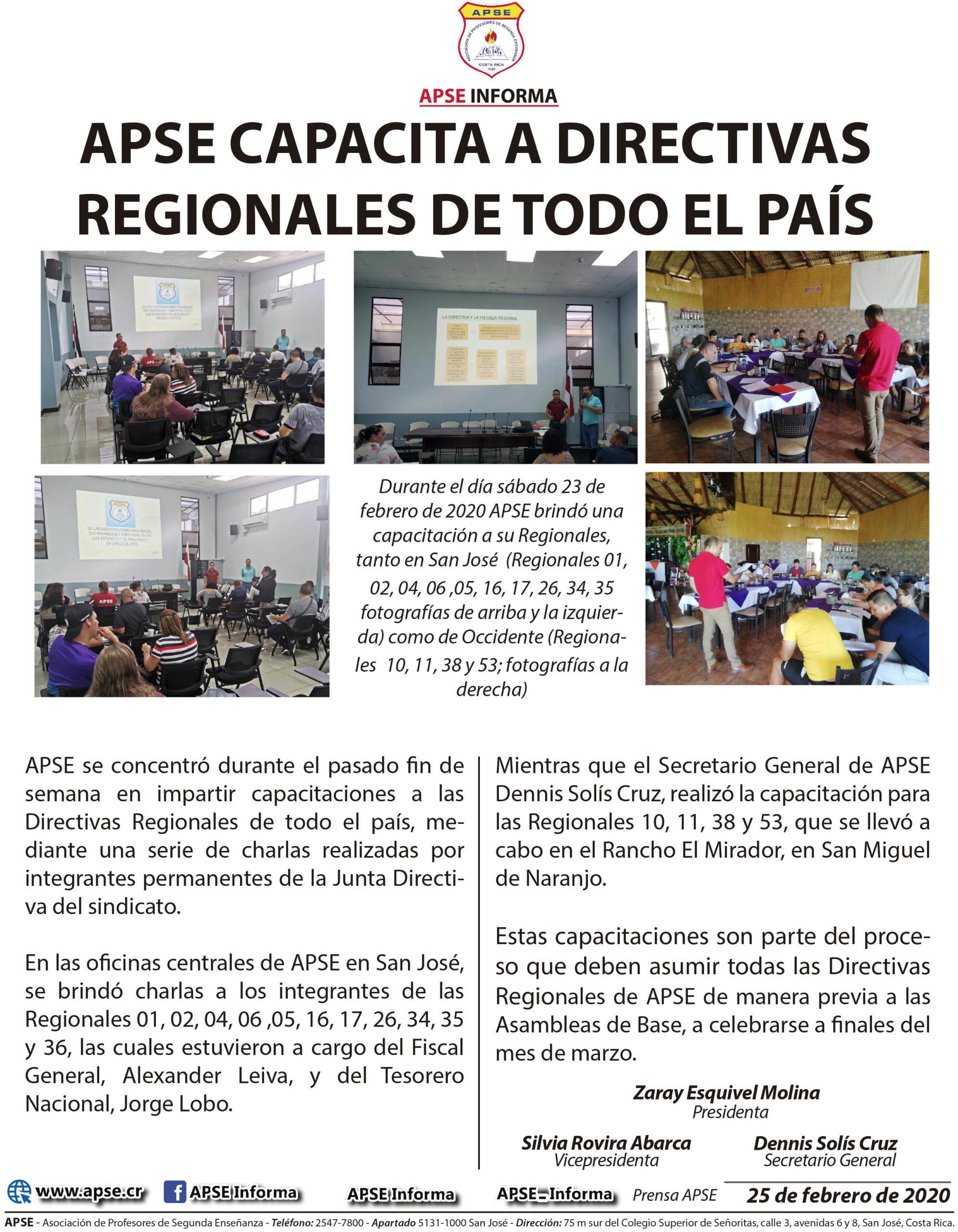 APSE CAPACITA A DIRECTIVAS REGIONALES DE TODO EL PAÍS