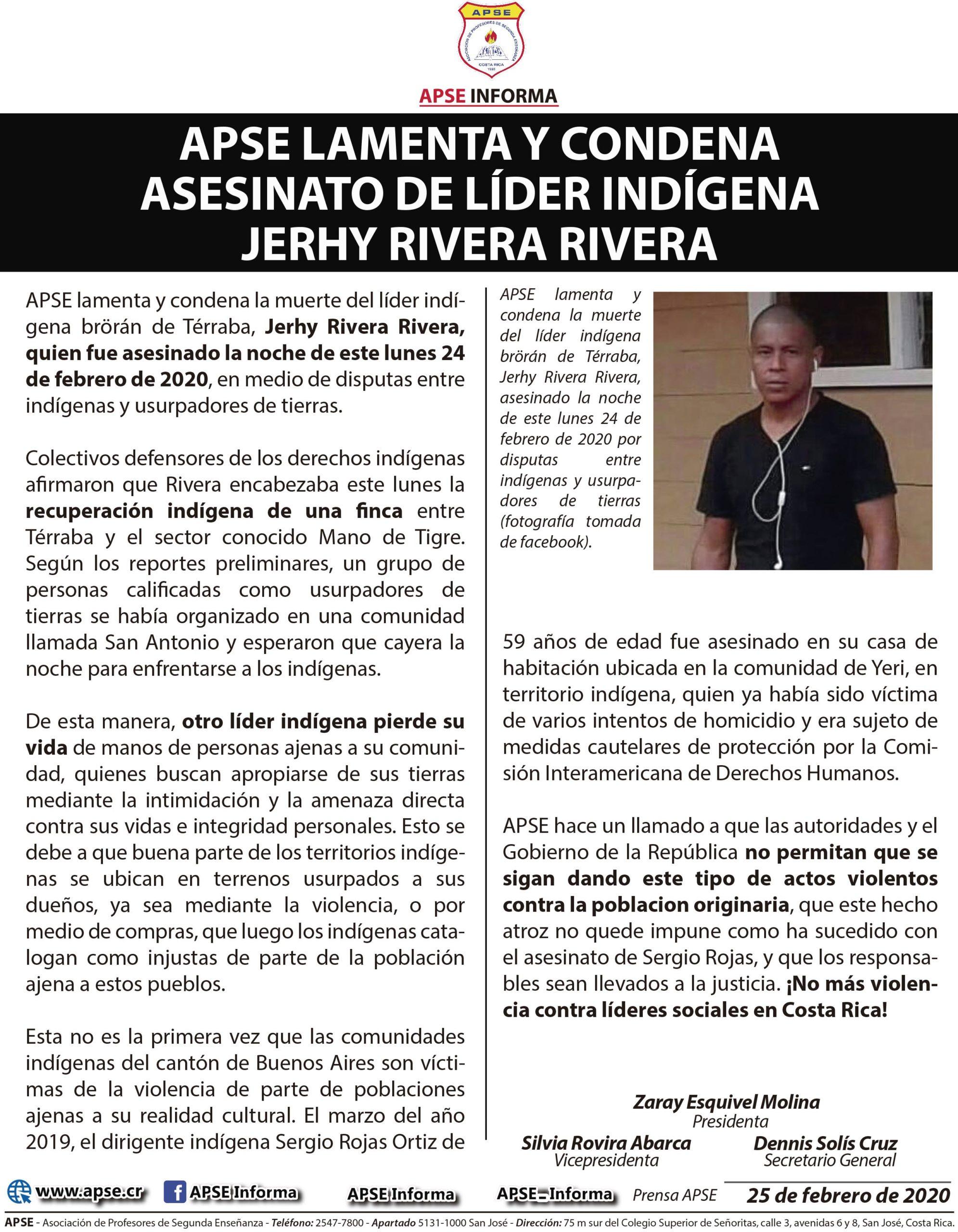 APSE LAMENTA Y CONDENA ASESINATO DE LÍDER INDÍGENA  JERHY RIVERA RIVERA