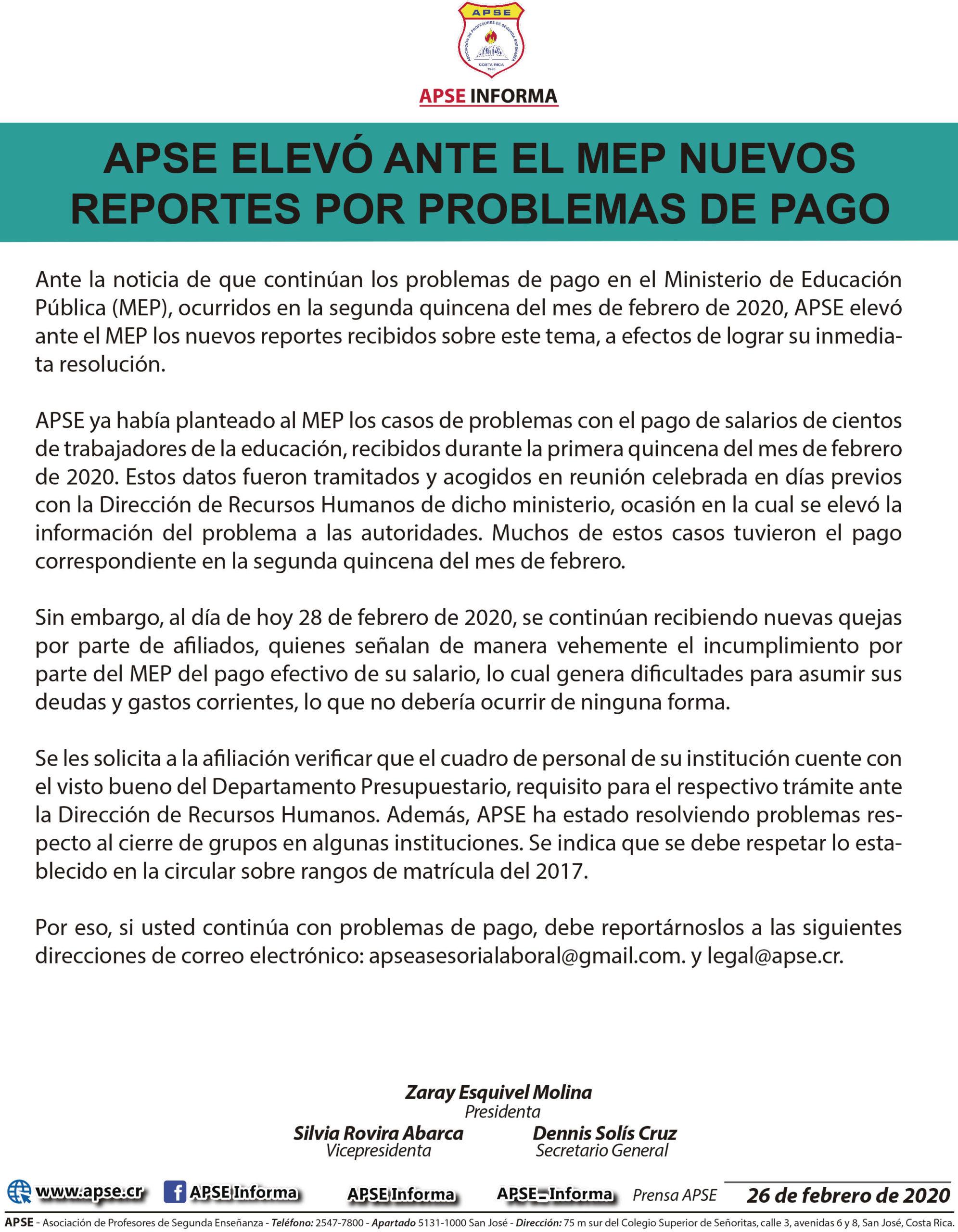 APSE ELEVÓ ANTE EL MEP NUEVOS REPORTES POR PROBLEMAS DE PAGO