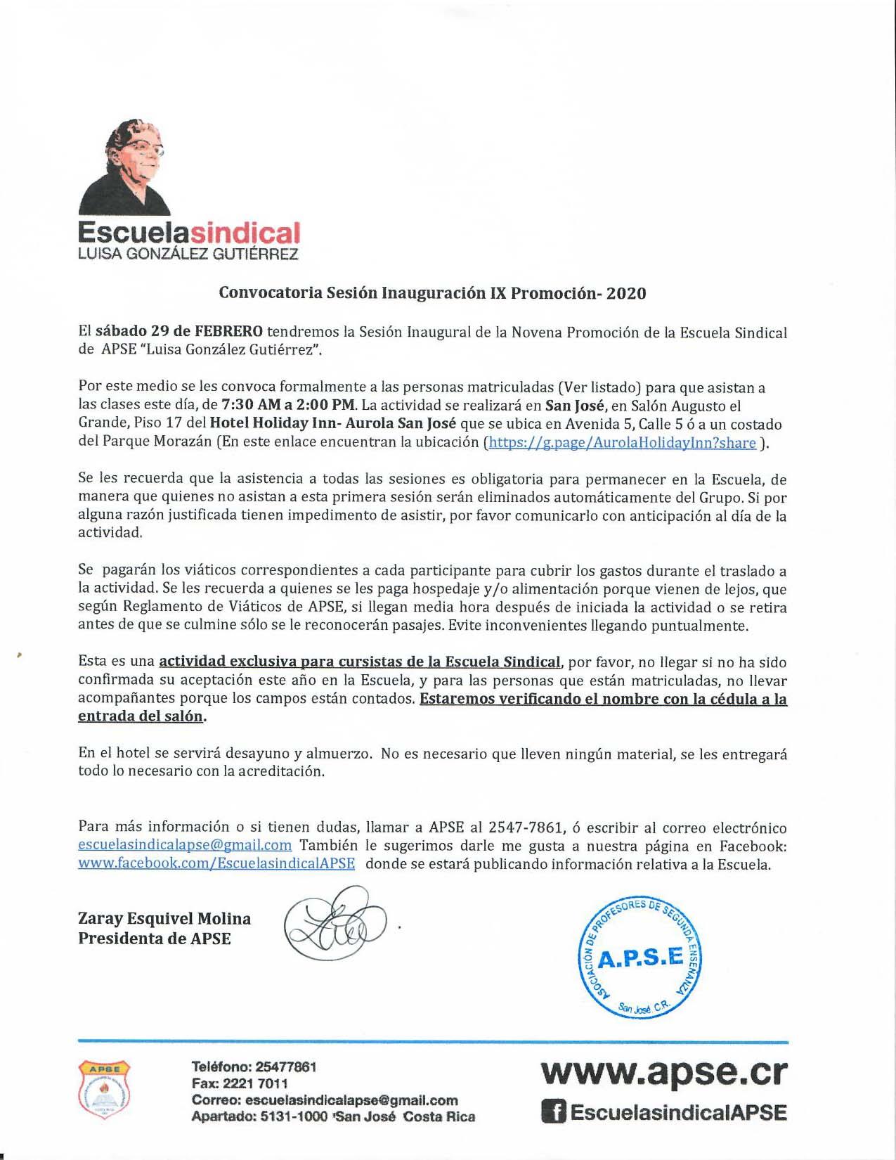 """ESCUELA SINDICAL DE APSE """"LUISA GONZÁLEZ GUTIÉRREZ» -CONVOCATORIA SESIÓN INAUGURACIÓN IX PROMOCIÓN- 2020"""