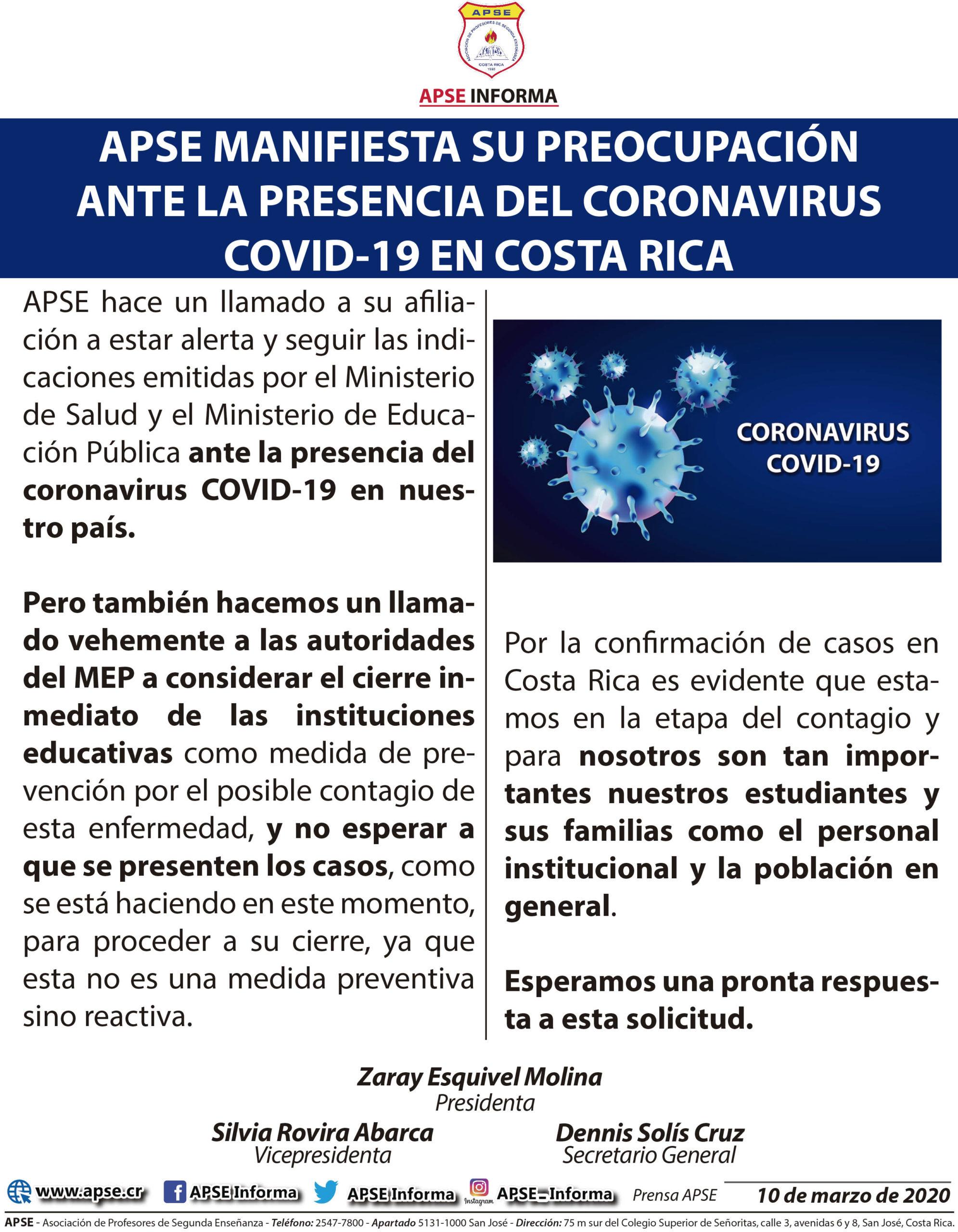 APSE MANIFIESTA SU PREOCUPACIÓN ANTE LA PRESENCIA DEL CORONAVIRUS COVID-19 EN COSTA RICA