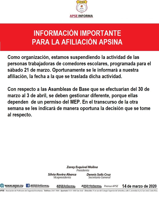 INFORMACIÓN IMPORTANTE PARA LA AFILIACIÓN APSINA